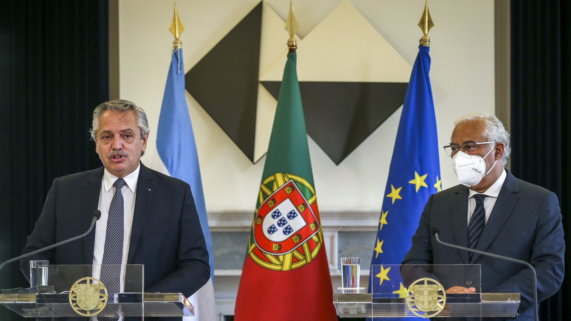 Argentine President Alberto Fernandez (L) and Portuguese Prime Minister Antonio Costa (R) attend a press conference at the end of a meeting at Sao Bento Palace in Lisbon, Portugal, 10 May 2021. RODRIGO ANTUNES/LUSA