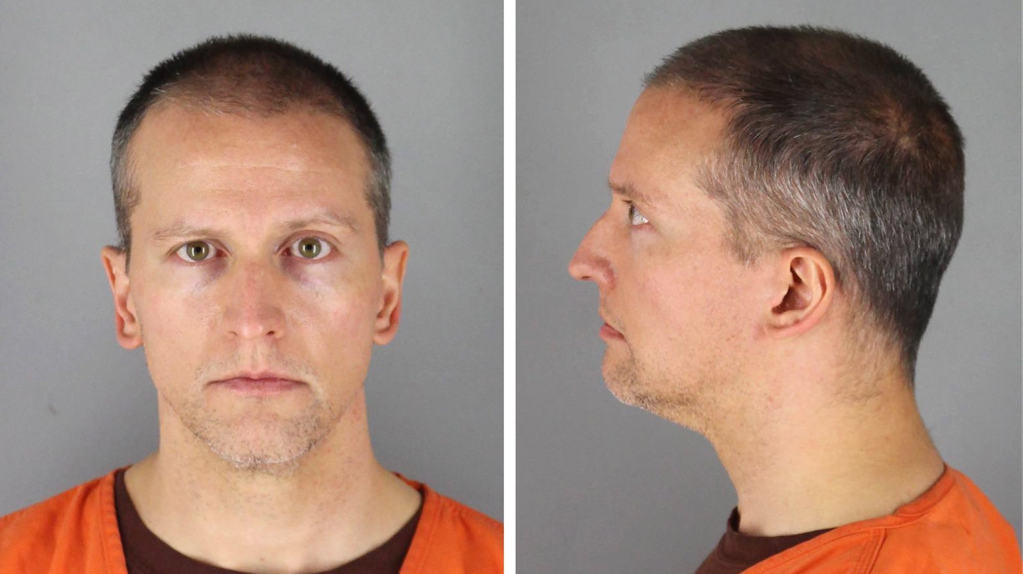 epa09148383 Handout booking photo released by the Hennepin County Sheriff's Office showing former Minneapolis Police Department Police Officer Derek Chauvin who was arrested and charged with second-degree murder, third-degree murder and second-degree manslaughter in the death of George Floyd in Minneapolis, Minnesota, USA, 12 June 2020 (reissued 20 April 2021). Former Minneapolis police officer Derek Chauvin was found guilty on all counts in the death of George Floyd on 20 April 2021.  EPA/HENNEPIN COUNTY SHERIFF / HANDOUT  HANDOUT EDITORIAL USE ONLY/NO SALES *** Local Caption *** 56147358