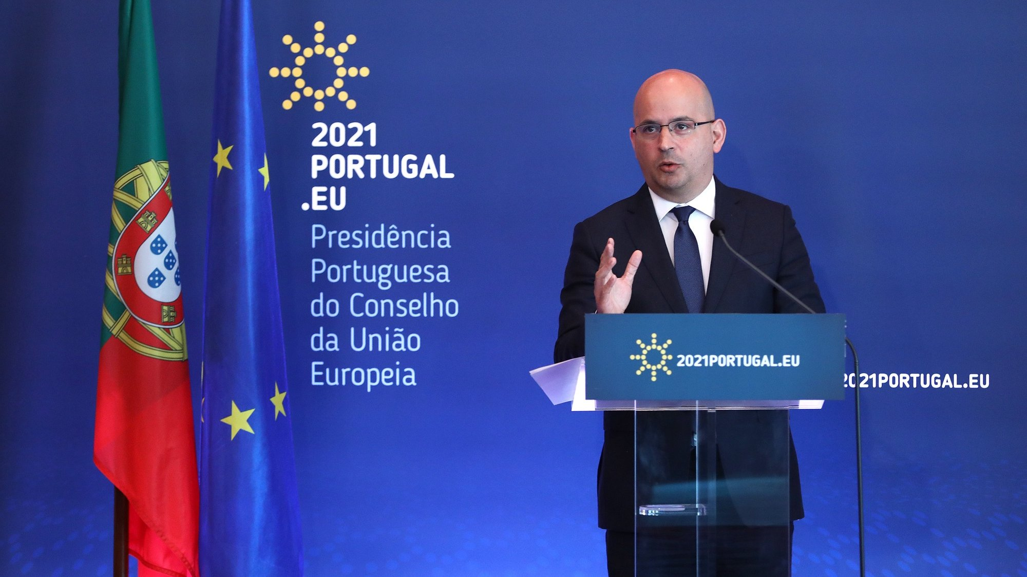 epa09078237 Portuguese Minister of State for Finance, Joao Leao, attends a press conference after an informal video conference of Economic and Finance ministers under the Portuguese Presidency of the Council, in Lisbon, Portugal, 16 March 2021. Ministers had an exchange of views on the state of play and way forward on tax challenges arising from digitalisation and also tooked stock of the economic situation and outlook in Europe in view of the COVID-19 crisis.  EPA/ANTONIO PEDRO SANTOS