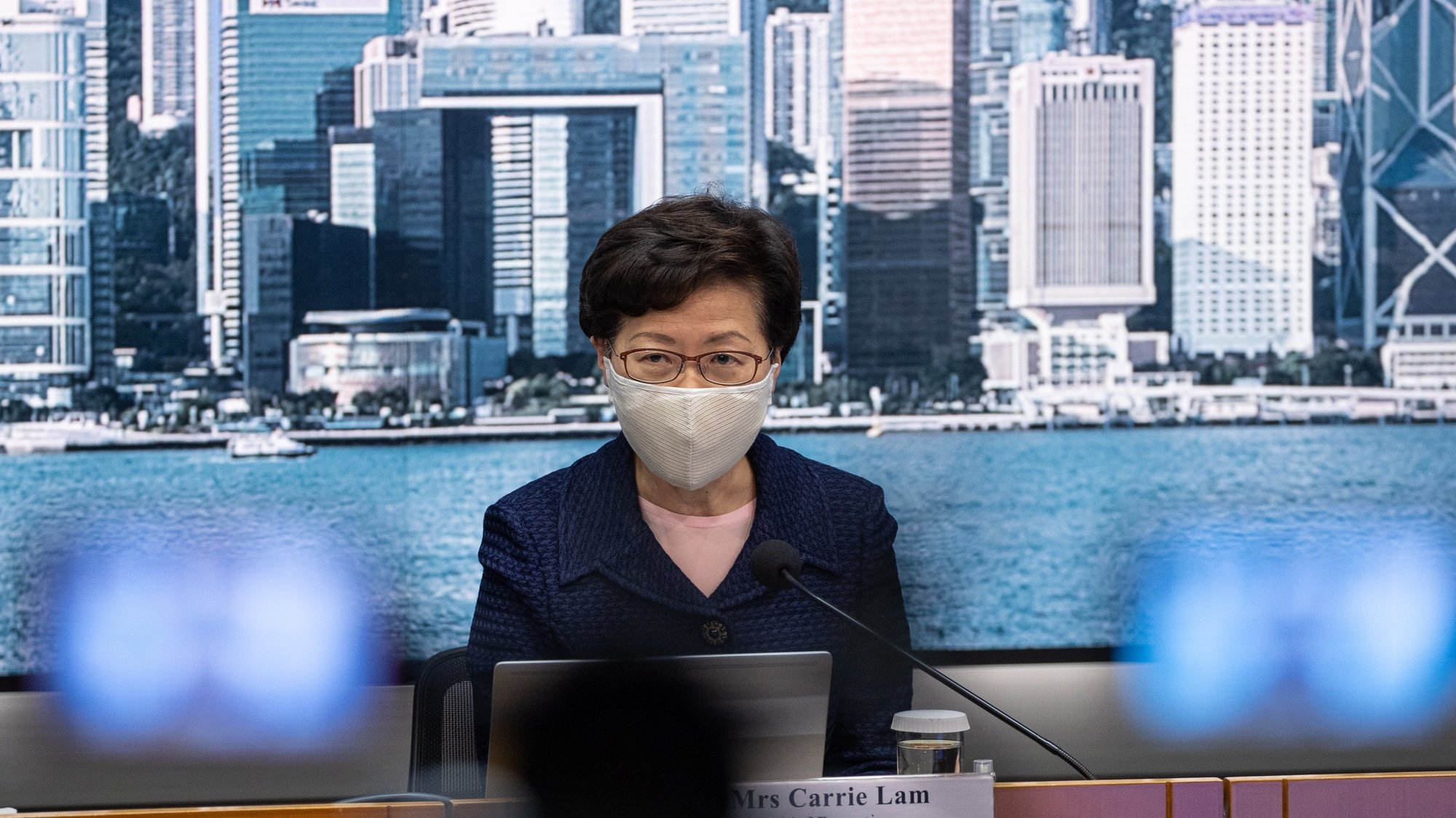 epa08576520 Hong Kong Chief Executive Carrie Lam speaks during a press conference in Hong Kong, China, 31 July 2020. Lam announced the postponement of the Legislative Council elections due on September 6, citing the worsening coronavirus Covid-19 situation in the city as the primary reason.  EPA/JEROME FAVRE