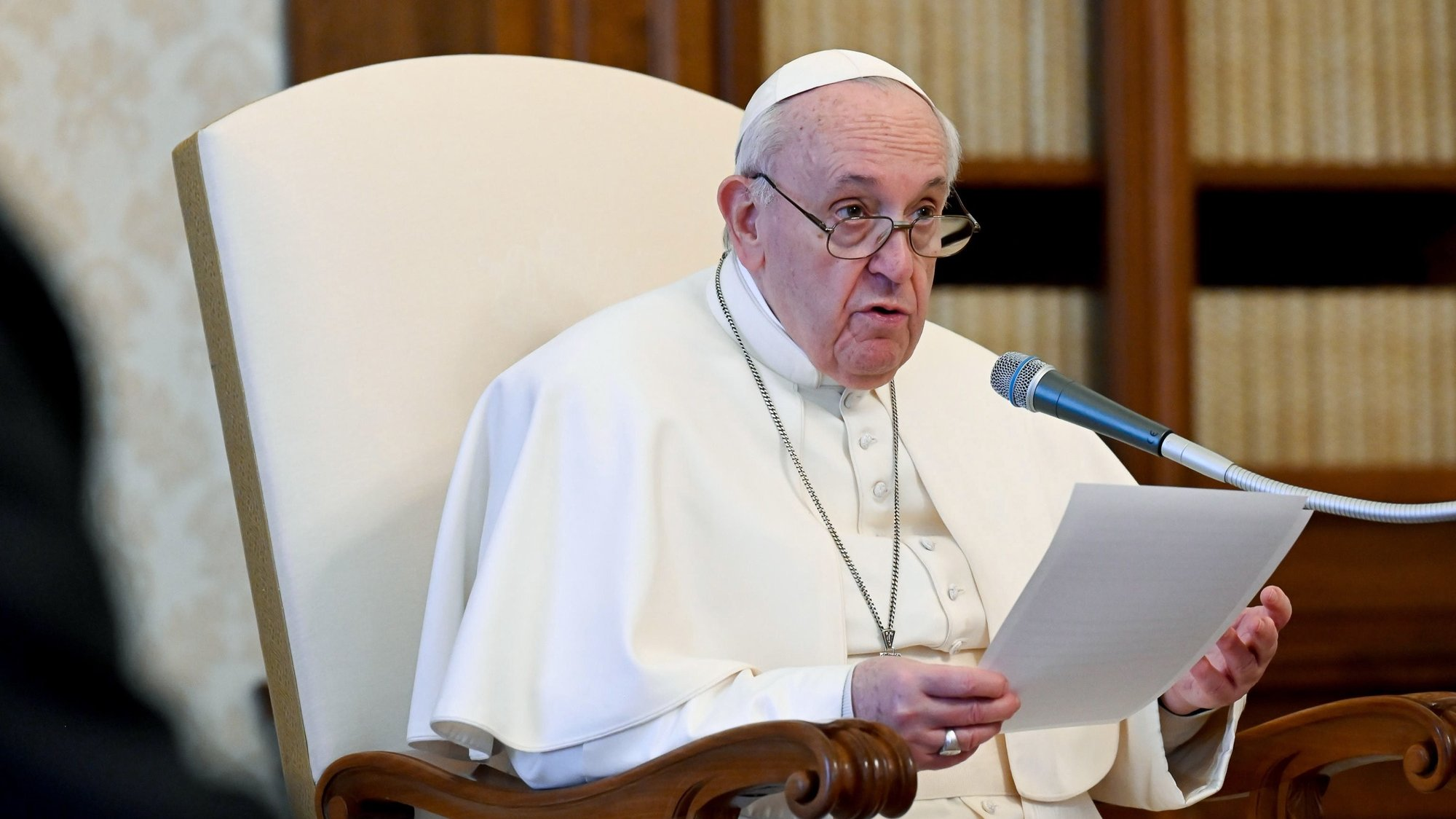 epa08983699 A handout photo made available by the Vatican Media shows Pope Francis during his weekly general audience in Vatican City, 03 February 2021.  EPA/VATICAN MEDIA / HANDOUT  HANDOUT EDITORIAL USE ONLY/NO SALES