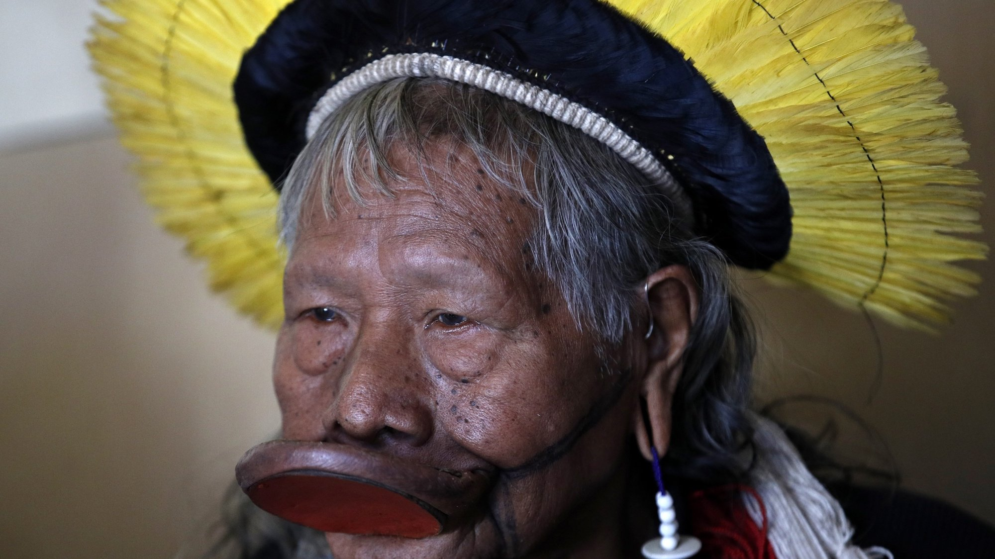 epa08554199 (FILE) - Indigenous Brazilian chief Kayapo Raoni Metuktire looks on prior to his meeting with French Ecology Minister Francois de Rugy, at the Ministry for Ecology in Paris, France, 13 May 2019 (reissued 19 July 2020). According to media reports, Raoni, 90, was hospitalized on 18 July with digestive bleeding in Sinop, Mato Grosso, Brazil.  EPA/YOAN VALAT
