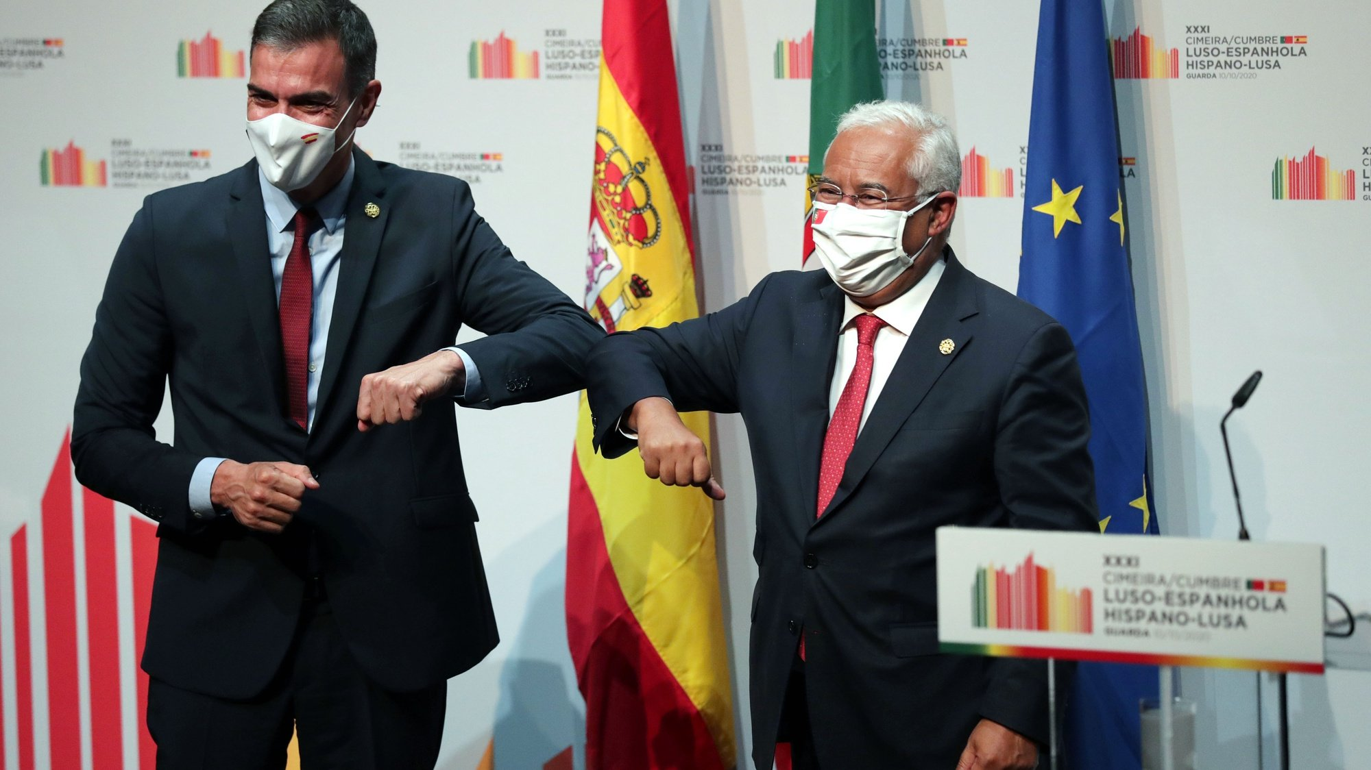 Portuguese Prime Minister, Antonio Costa (R), and his counterpart the President of the Spanish government, Pedro Sanchez (L), attend a conference during the 31th Portuguese Spanish Summit in Guarda, Portugal, 10 october 2020. Pedro Sanchez  is on a one day official visit to Guarda for the 31th Spanish-Portuguese Summit. ESTELA SILVA/LUSA