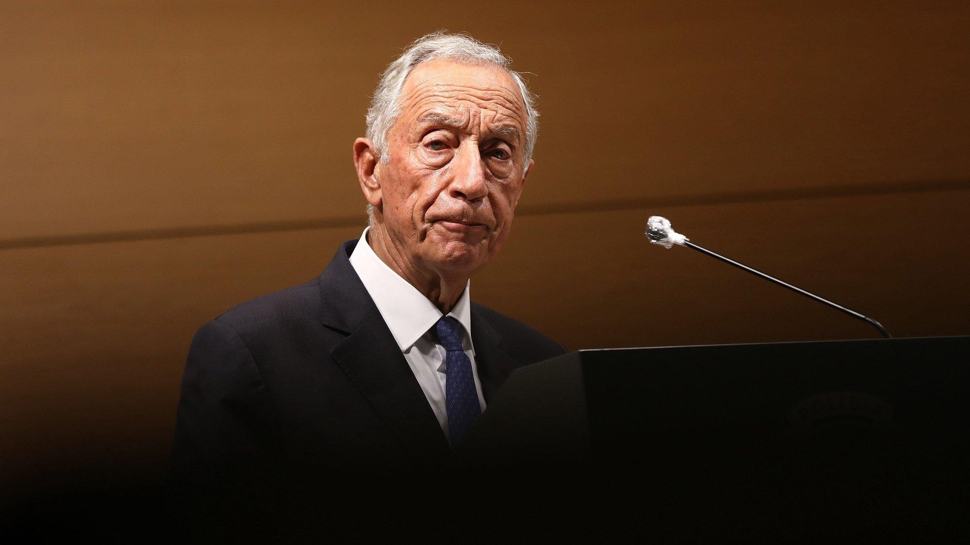 O Presidente da República, Marcelo Rebelo de Sousa, intervém durante a sessão solene comemorativa do 75.º aniversario da Polícia Judiciária, no edifício Sede, em Lisboa, 20 de outubro de 2020. ANTÓNIO PEDRO SANTOS/LUSA