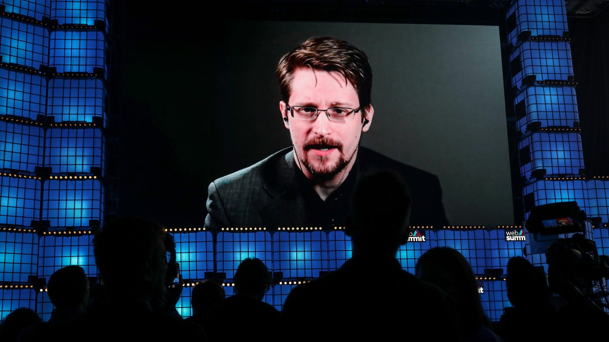 epa07972515 Edward Snowden of Fredom of the Press Foundation addresses a speech in video conference in the official opening ceremony of the 2019 Web Summit at Atlantic Pavilion in Lisbon, Portugal, 04 November 2019. The 2019 Web Summit, considered the largest event of startups and technological entrepreneur ship in the world, takes place from 04 to 07 November.  EPA/MIGUEL A. LOPES