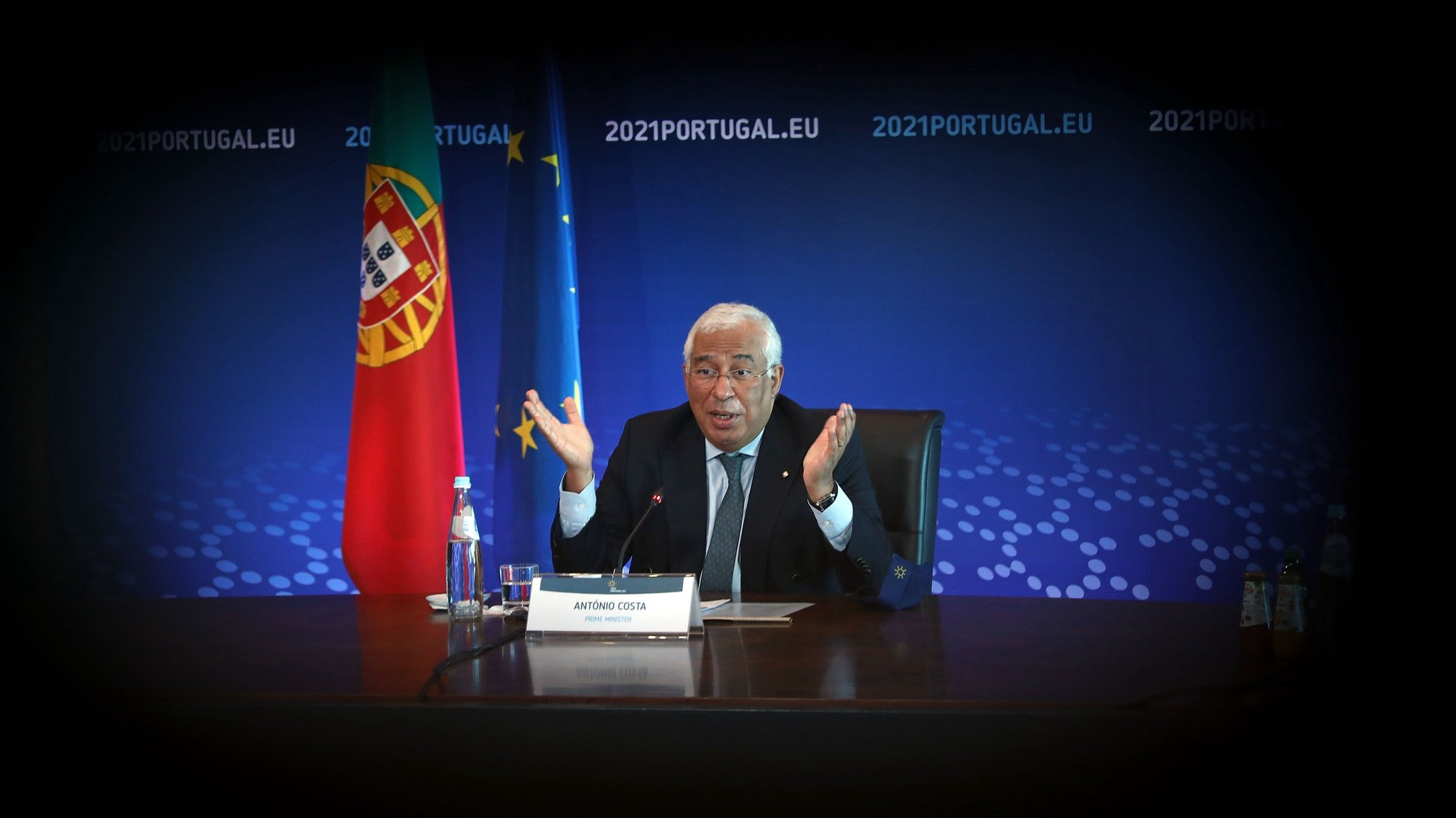 Portuguese Prime Minister António Costa during a virtual visit of journalists included in the official program of the Portuguese Presidency of the Council of the European Union in Lisbon, Portugal, 07 January 2021. During the first half of this year, Portugal will have its fourth presidency after 1992, 2000 and 2007. ANTÓNIO PEDRO SANTOS/LUSA