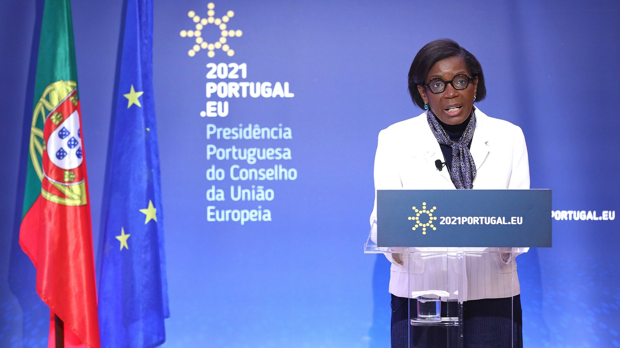 epa09003511 PortugueseMinister of JusticeFrancisca Van Dunem attends to a High Level Conference on the topic of 'The Intellectual Property Metamorphosis in the Age of Digital Transition' under the Portuguese Presidency of the Council, in Lisbon, Portugal, 11 February 2021. According to the organizers, nationally and internationally renowned persons in the area of intellectual property and innovation will give their views on the future challenges of intellectual property in the age of digital transformation.  EPA/ANTONIO PEDRO SANTOS
