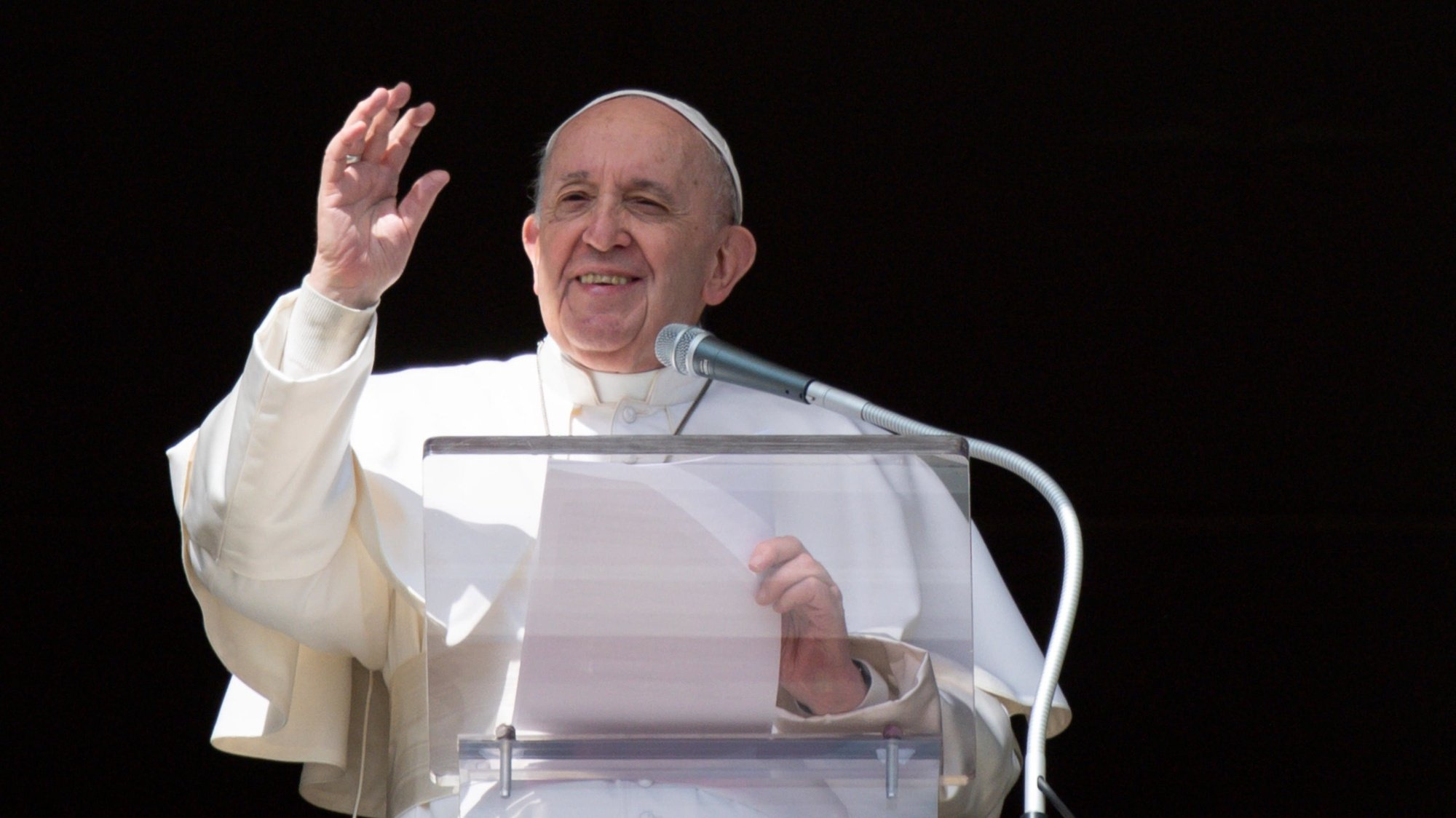 epa09044239 A handout picture provided by the Vatican Media shows Pope Francis reciting the prayer of the Angelus from the window of his study overlooking Saint Peter's Square, Vatican City, 28 February 2021 (issued 01 March 2021).  EPA/VATICAN MEDIA HANDOUT  HANDOUT EDITORIAL USE ONLY/NO SALES