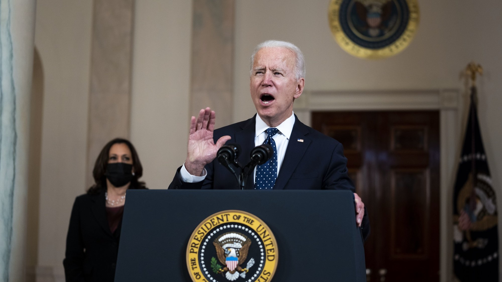 epa09148568 US President Joe Biden (R) delivers remarks as US Vice President Kamala Harris (L) looks on, after former Minneapolis Police Department Police Officer Derek Chauvin was found guilty on all counts in the death of George Floyd, at the White House in Washington, DC, USA, 20 April 2021.  EPA/Doug Mills / POOL