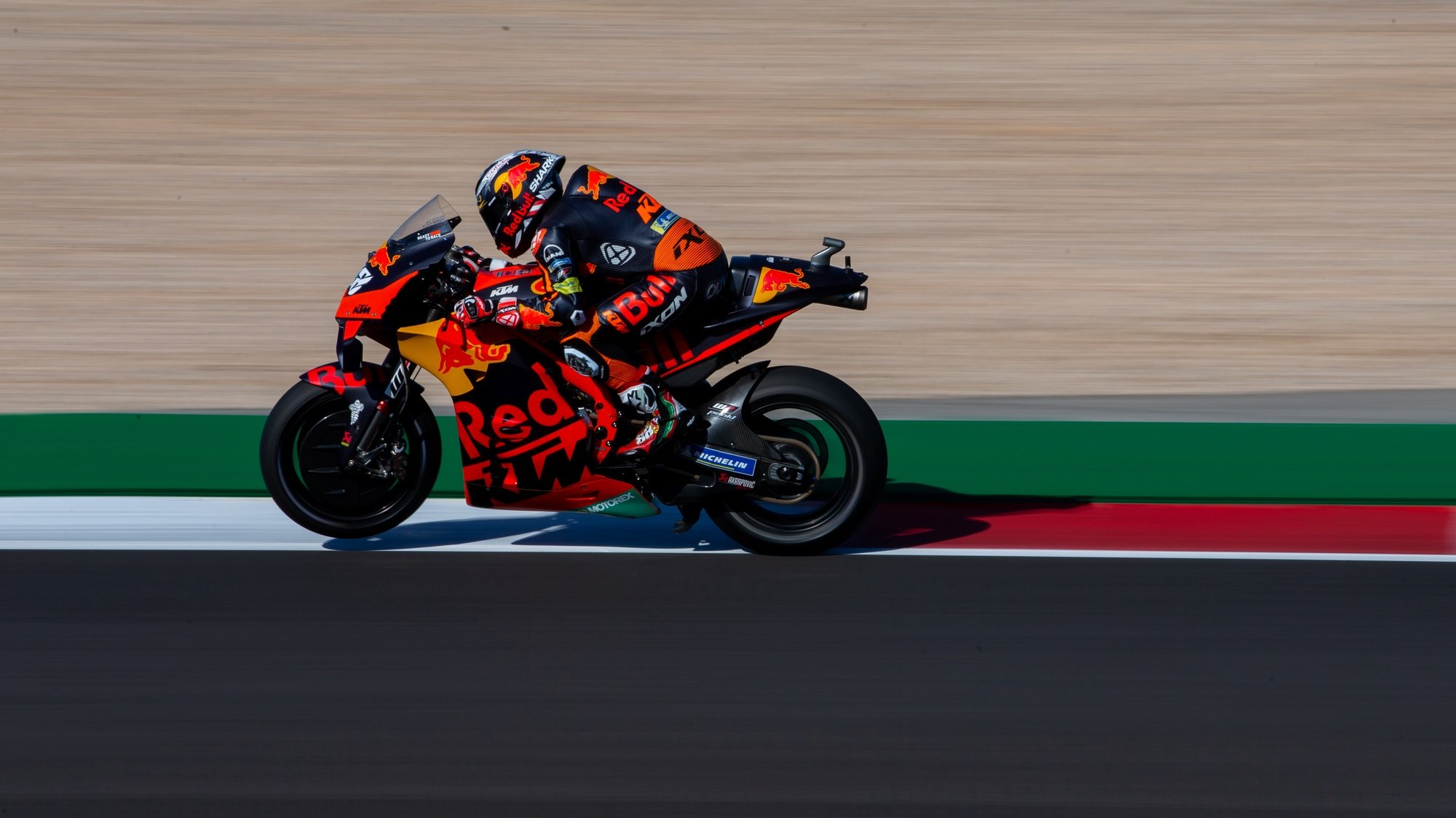 Portuguese rider of Red Bull KTM Factory Racing team, Miguel Oliveira, in action during the warm up session for the Grand Prix of Portugal at Algarve International race track, south of Portugal, 18 April 2021. JOSE SENA GOULAO/LUSA