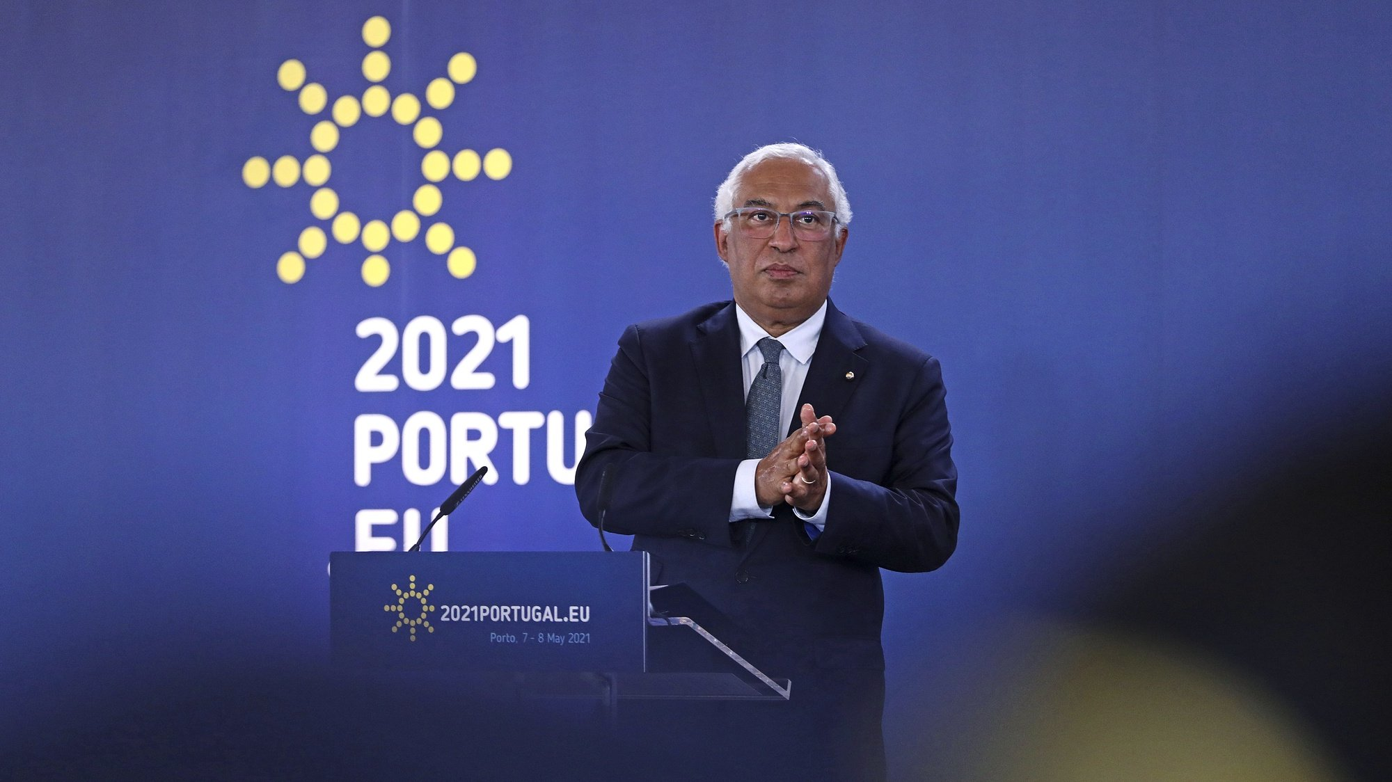 epa09185632 Portuguese Prime Minister Antonio Costa attends the final press conference at the end of the informal meeting during the 2nd day of the EU Social Summit at the Palacio de Cristal in Porto, Portugal, 08 May 2021. The European Union leaders met for a summit in Portugal, sending a signal they see the threat from COVID-19 on their continent as waning amid a quickening vaccine rollout. Their talks hope to repair some of the damage the coronavirus has caused in the bloc, in such areas as welfare and employment.  EPA/ANTONIO PEDRO SANTOS/POOL