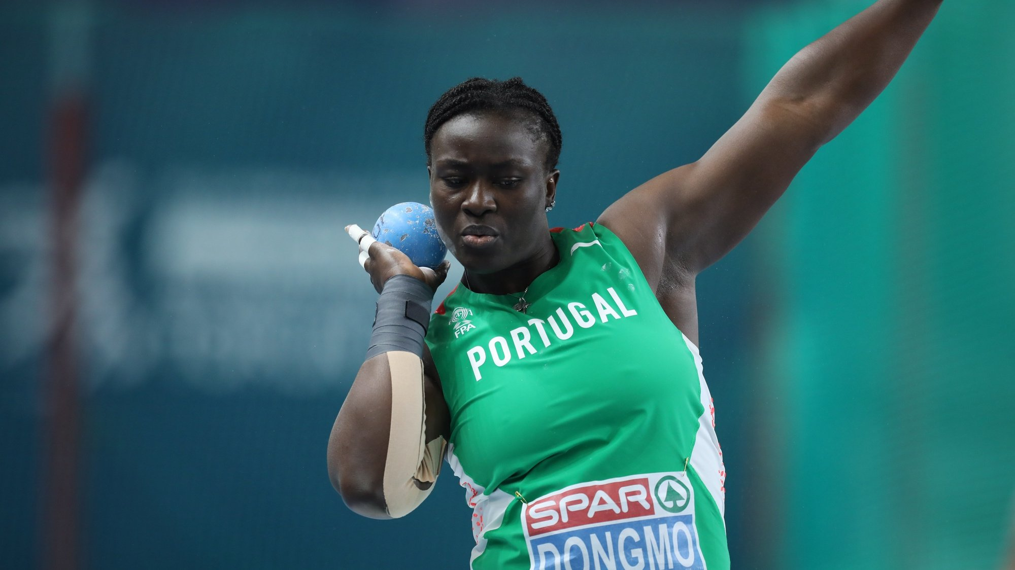 epa09054668 Auriol Dongmo of Portugal competes in the women's Shot Put final at the 36th European Athletics Indoor Championships at the Arena Torun, in Torun, north-central Poland, 05 March 2021.  EPA/Leszek Szymanski POLAND OUT