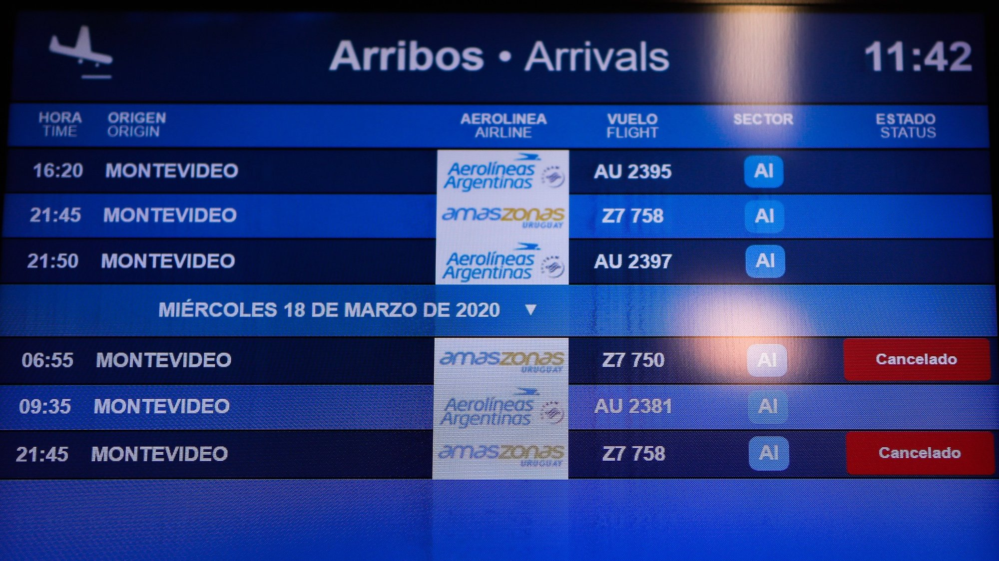 epa08301659 View of a screen with canceled flights at Jorge Newbery Airport, in Buenos Aires, Argentina, 17 March 2020. The Argentine Government announced on 15 March the closure of the borders for at least two weeks with minor exceptions. It also suspended flights from the US and Europe starting 16 March in an effort to fight the spread of the COVID-19 coronavirus  EPA/Juan Ignacio Roncoroni