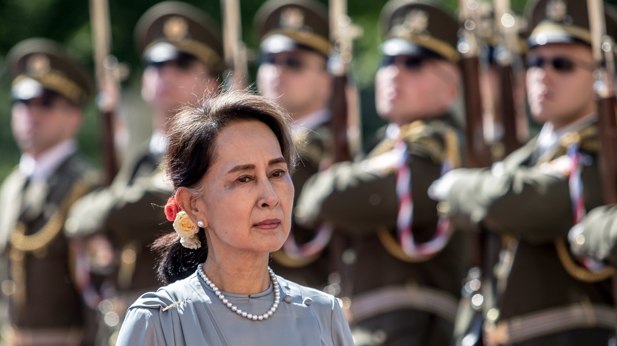 epa08978815 (FILE) - Myanmar's State Counselor Aung San Suu Kyi inspects a guard of honor during a welcome ceremony in Prague, Czech Republic, 03 June 2019 (reissued 01 February 2021). According to media reports Myanmar's State Counselor Aung San Suu Kyi and Myanmar president Win Myint were arrested by the military in a raid on 01 February amidst reports of a coup.  EPA/MARTIN DIVISEK *** Local Caption *** 56487053