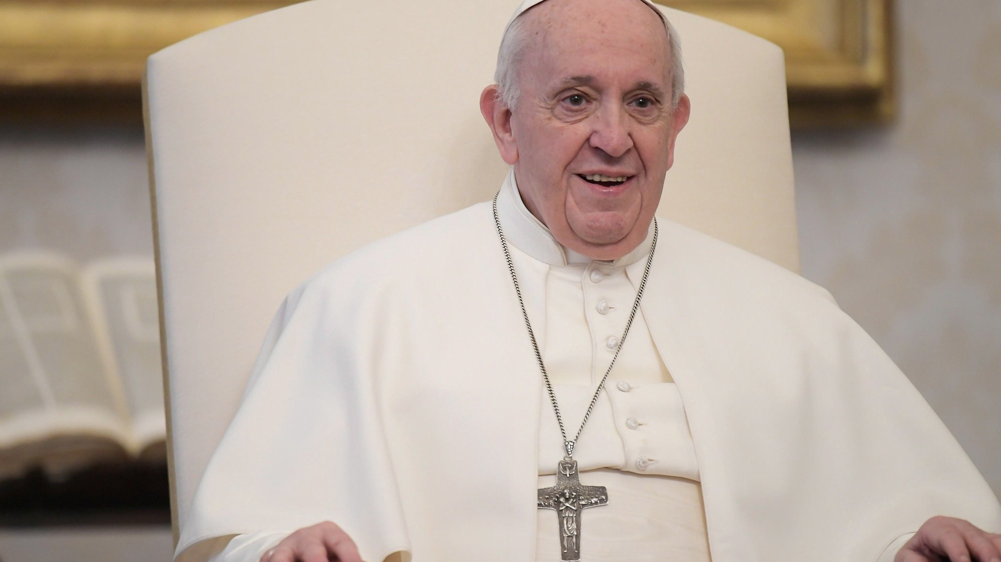epa08983698 A handout photo made available by the Vatican Media shows Pope Francis during his weekly general audience in Vatican City, 03 February 2021.  EPA/VATICAN MEDIA / HANDOUT  HANDOUT EDITORIAL USE ONLY/NO SALES