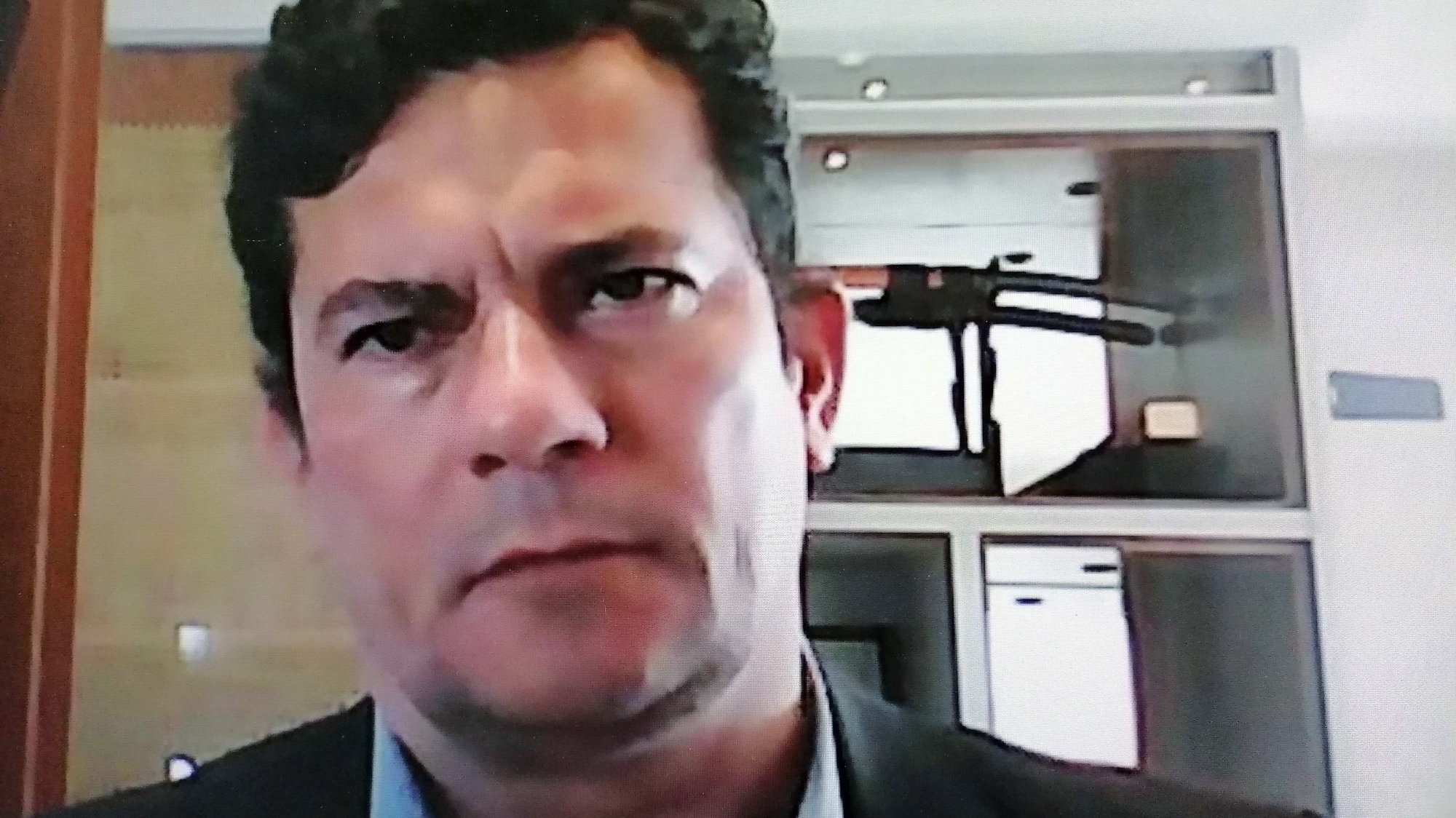 """epa08536687 Screenshot showing Sergio Moro, former Minister of Justice and Public Security of Brazil, during a virtual interview with Efe, in Sao Paulo, Brazil, 08 July 2020 (issued 09 July). """"I have doubts to what extent the autonomy of control bodies is guaranteed"""" for fighting corruption in the government of Jair Bolsonaro, Sergio Moro, famous for his fight against impunity in Brazil and powerful Minister of Justice and Justice, said in an interview. Public Security until April. Moro, 47, was judge of the """"Lava Jato"""" anti-corruption mega-operation, which since 2014 took dozens of businessmen and politicians to prison, including former President Luiz Inacio Lula da Silva - who has been released since November 2019 after being imprisoned for one year and seven months.  EPA/Ceciclia Malavoglia BEST QUALITY AVAILABLE"""