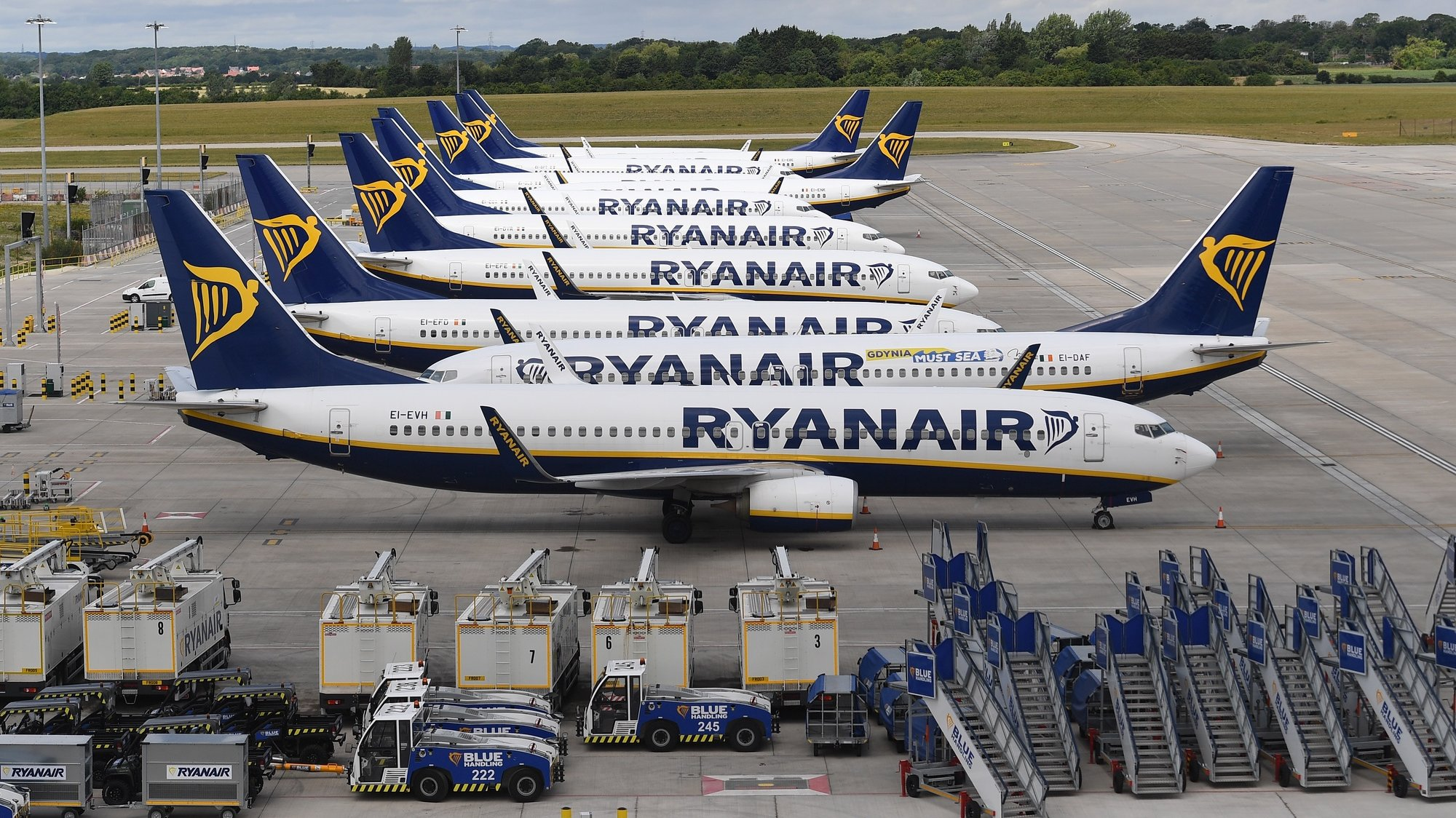 epa08568713 (FILE) - Ryanair aircraft at Stansted Airport in London, Britain, 01 July 2020 (reissued 27 July 2020). Ryanair, that suffered considerably of the pandemic of SARS-CoV-2 coronavirus which causes the Covid-19 disease, released their 1st quarter ended June 2020 results on 27 July 2020 saying they suffered a loss of 185 million euro as a result of having to ground their entire fleet of planes during the epidemic from mid-March to end of June because of EU-imposed travel and flight restrictions. The company made a 243 million euro profit in same quarter in 2019.  EPA/ANDY RAIN