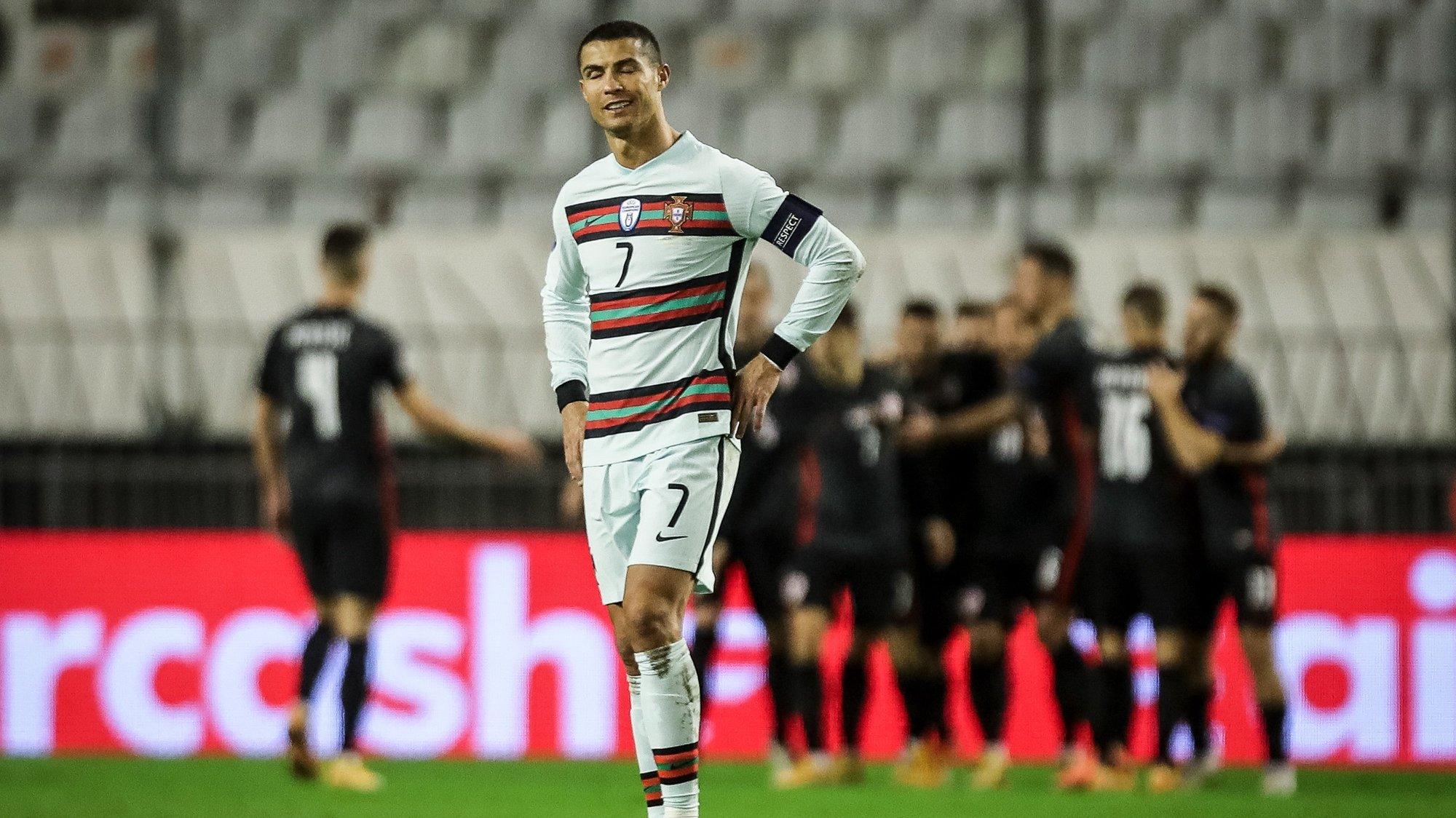 epa08826316 Portugal's Cristiano Ronaldo reacts after the 2nd goal of Croatia during their UEFA Nations League group 3 soccer match Croatia vs Portugal held at Poljud Stadium, Split, Croatia, 17 November 2020.  EPA/PAULO NOVAIS