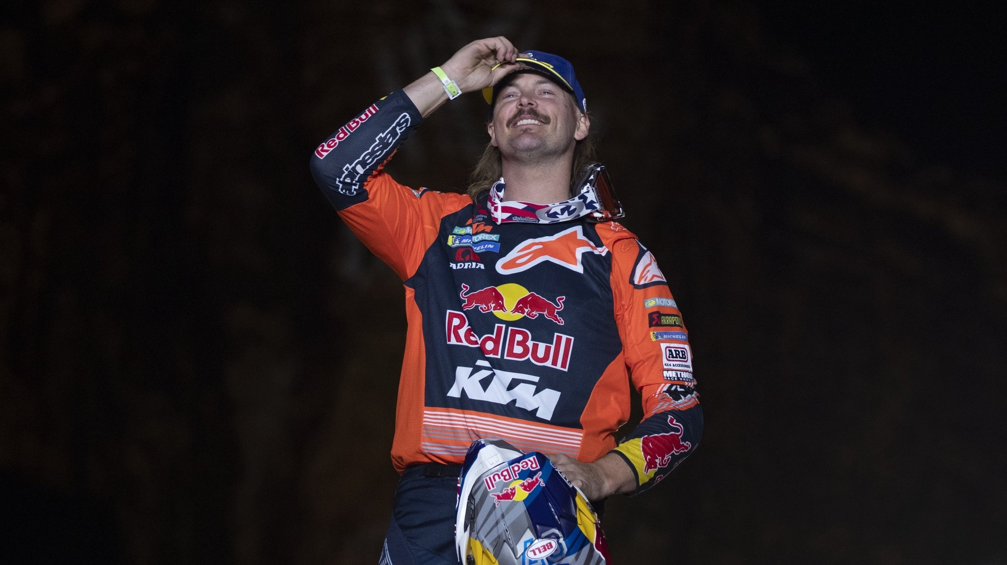 epa08137040 Australian Toby Price celebrates his third place  in the bike category after the last stage of the Rally Dakar 2020 in Qiddiya, Saudi Arabia, 17 January 2020.  EPA/ANDRE PAIN