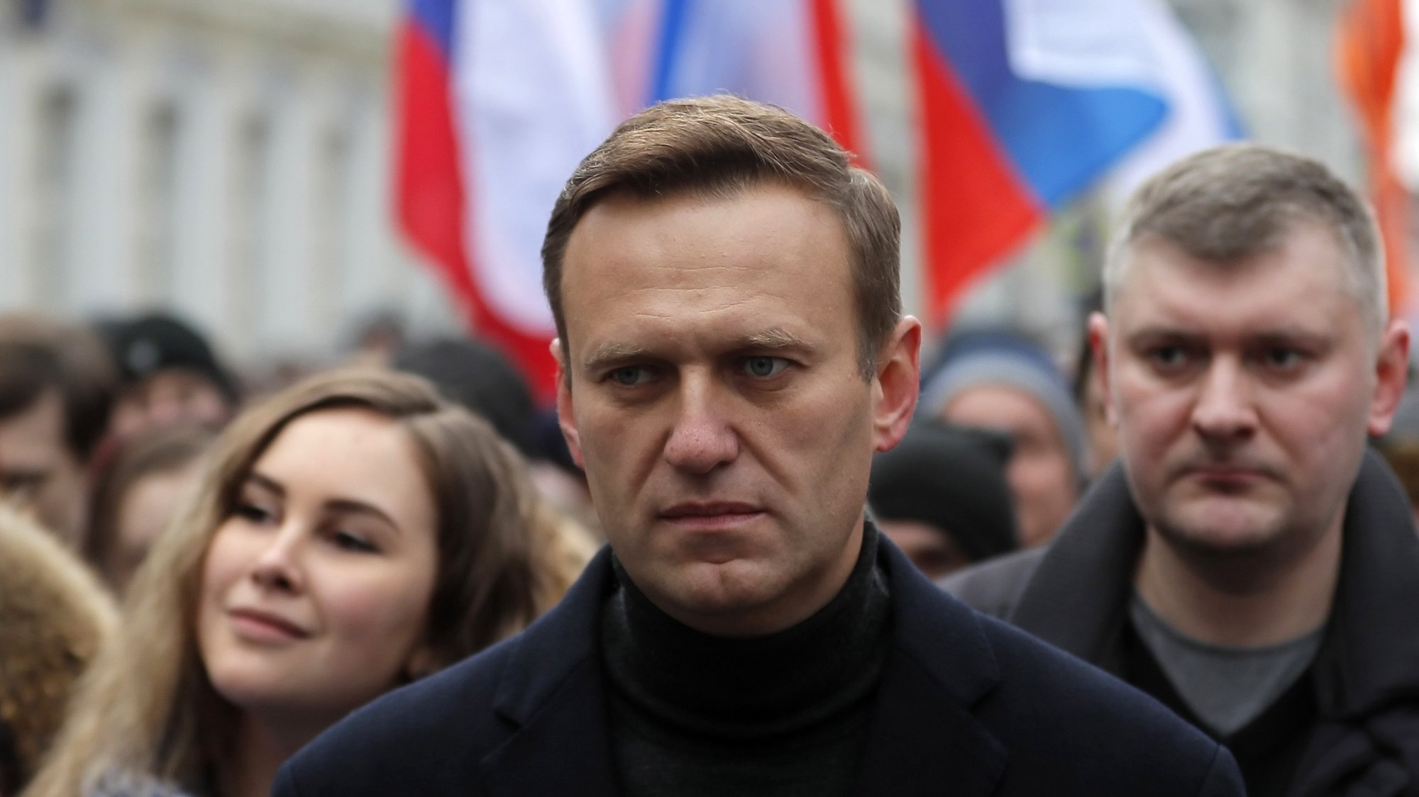 epa08667732 (FILE) - Russian opposition leader and anti-corruption activist Alexei Navalny (C) takes part in a memorial march for Boris Nemtsov marking the fifth anniversary of his assassination in Moscow, Russia, 29 February 2020 (reissued 14 September 2020). The German government spokesperson on 14 September 2020 said laboratories in France and Sweden have confirmed that Navalny was poisoned with a nerve agent from the Novichok group. Navalny is treated at the Charite hospital in Berlin since 22 August 2020. He was first placed in an hospital in Omsk, Russia, after he felt bad on board of a plane on his way from Tomsk to Moscow. The flight was interrupted and after landing in Omsk Navalny was delivered to hospital with a suspicion on a toxic poisoning.  EPA/YURI KOCHETKOV  EPA-EFE/YURI KOCHETKOV