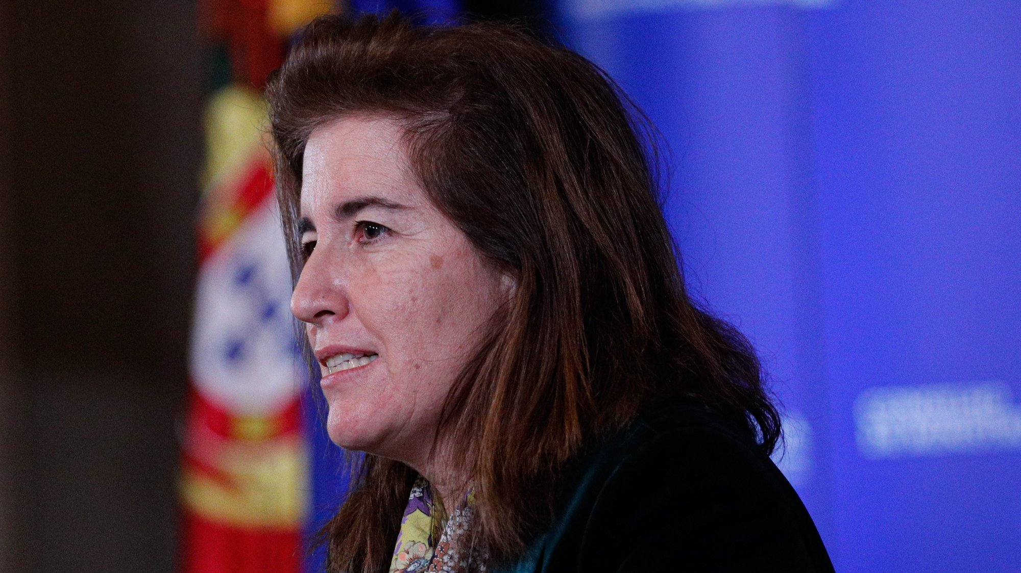 A ministra do Trabalho, Solidariedade e Segurança Social, Ana Mendes Godinho, durante a conferência de  imprensa no final da reunião do Conselho de Ministros, que decorreu no Palácio da Ajuda, em Lisboa, 18 de fevereiro de 2021. ANTÓNIO COTRIM/LUSA