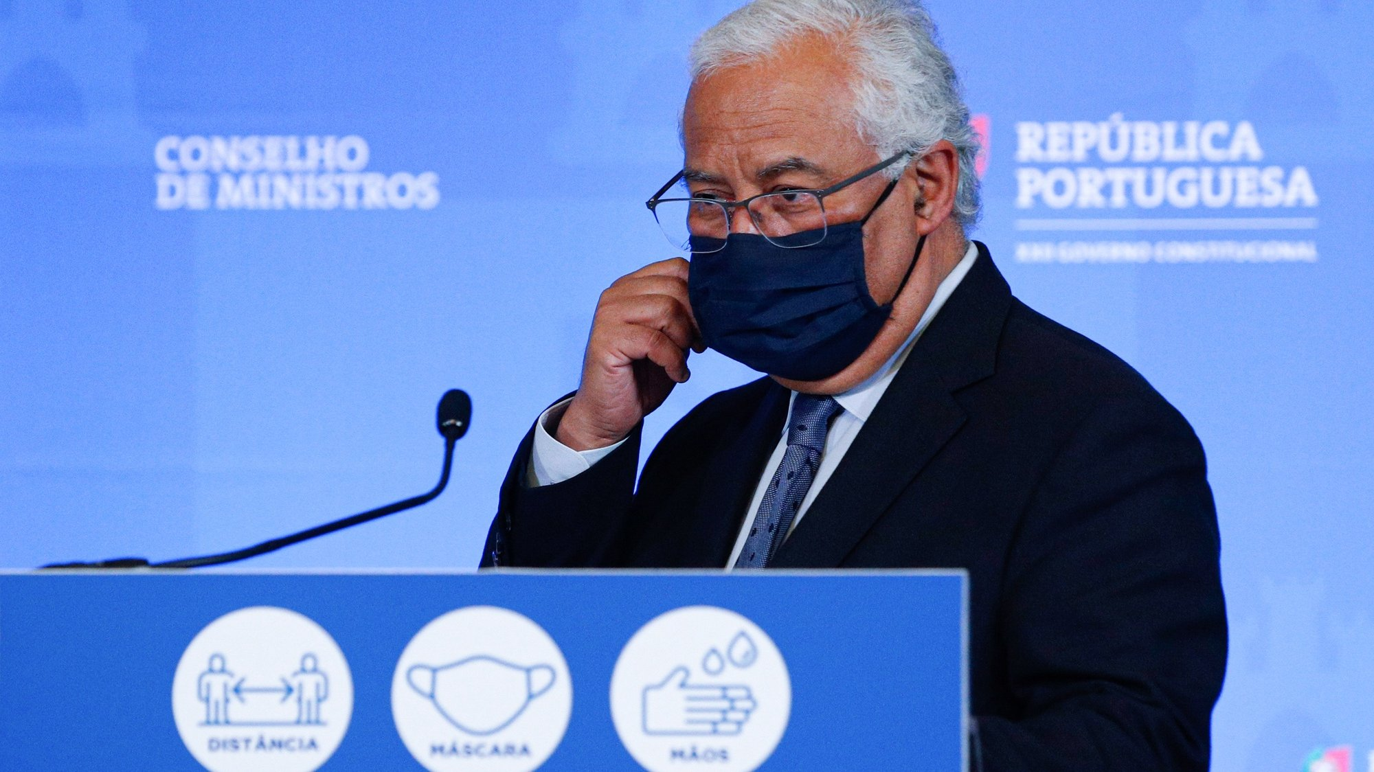 epa09068741 Portuguese Prime Minister Antonio Costa speaks during the briefing of the Council of Ministers Meeting, in Lisbon, Portugal, 11 March 2021. Costa announced the reopening plan measures in the context of the fight to control the Covid-19 pandemic.  EPA/ANTONIO COTRIM