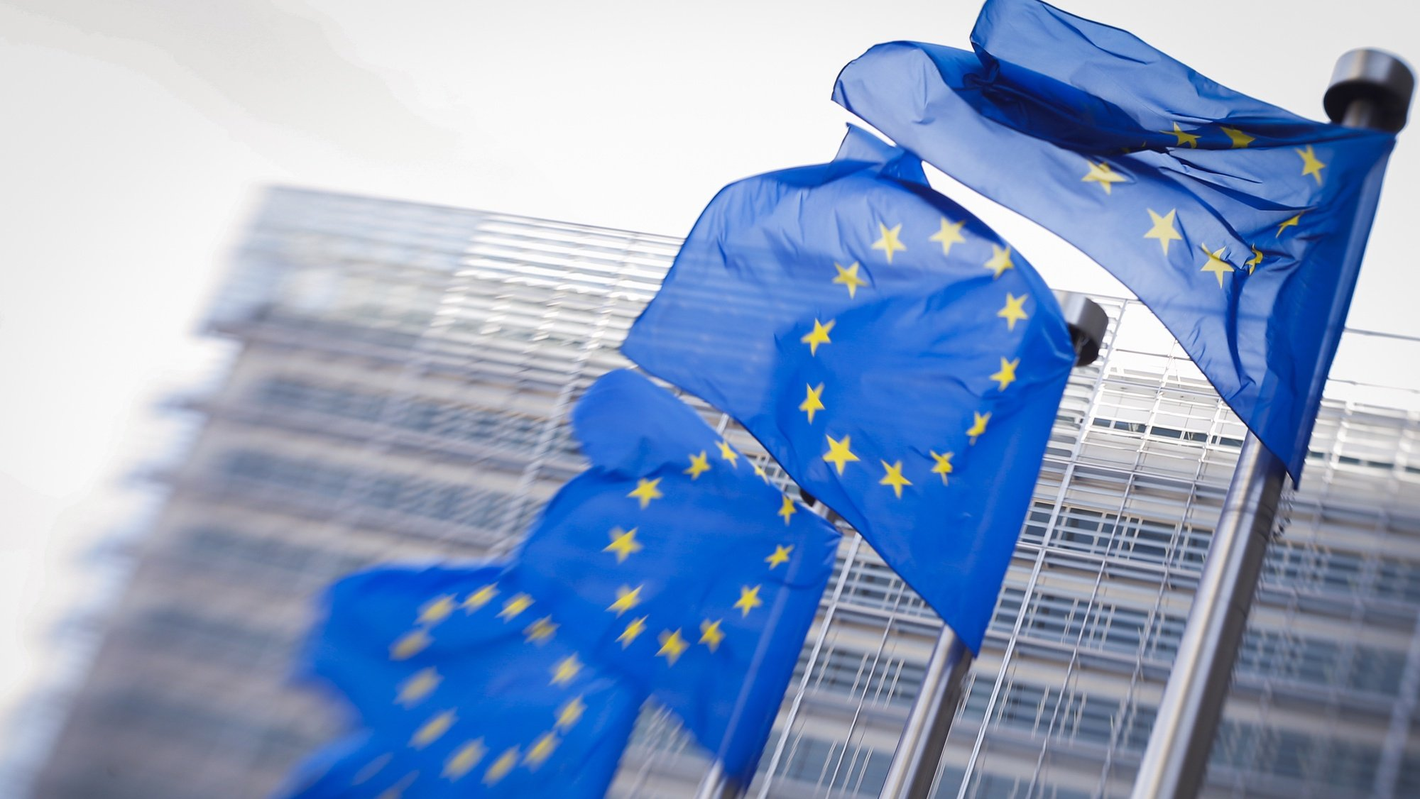 epa07239707 (FILE) - European flags in front of European commission headquarters in Brussels, Belgium, 26 June 2018 (reissued 19 December 2018). According to a report by the New York Times, hackers have allegedly intercepted communications of European Union diplomatic staff for several years.  EPA/OLIVIER HOSLET