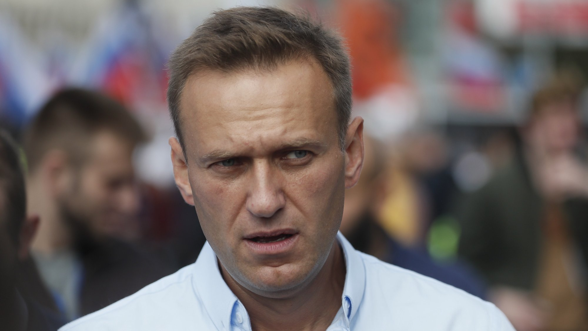 epa09145122 (FILE) - Russian Opposition activist Alexei Navalny attends a rally in support of opposition candidates in the Moscow City Duma elections in downtown of Moscow, Russia, 20 July 2019 (reissued 19 April 2021). Russian imprisoned opposition activist Alexei Navalny is to be moved to a hospital, the Russian state penitentiary service said on 19 April 2021. Navalny was on hunger strike since 31 March while serving a prison sentence in a penal colony after he returned from Germany where he was treated in August 2020 for poisoning with a nerve agent from the Novichok group.  EPA/SERGEI ILNITSKY *** Local Caption *** 56666084