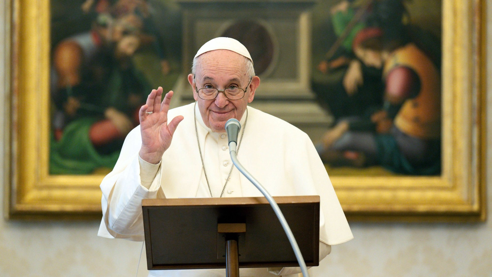epa08945779 A handout picture provided by the Vatican Media shows Pope Francis Pope delivering a live-streamed weekly Angelus prayer from the Apostolic Palace's library at The Vatican, 17 January 2021 (issued 18 January 2021).  EPA/VATICAN MEDIA HANDOUT  HANDOUT EDITORIAL USE ONLY/NO SALES