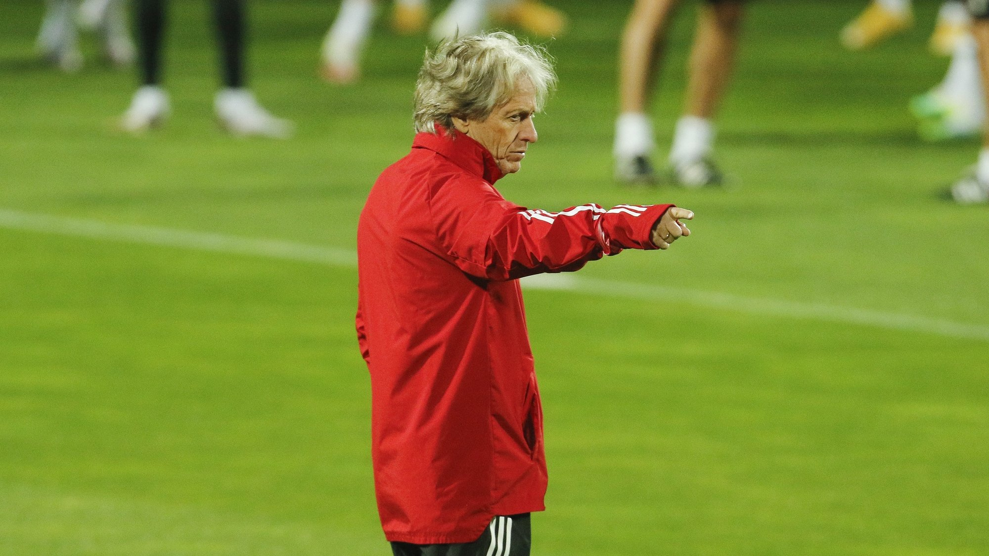Benfica headcoach Jorge Jesus during a training session in Seixal, near Lisbon, Portugal, 4th October 2020. Benfica will face Rangers in their UEFA Matchday 3 of the Europa League Group D soccer match at Luz Stadium on 5th October. RUI MINDERICO/LUSA