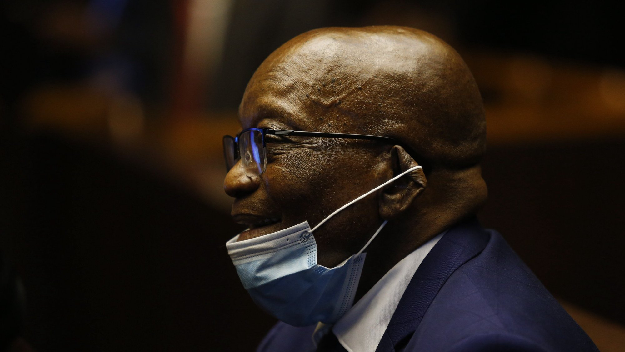 epa09206227 Former South African President Jacob Zuma appears in the Pietermaritzburg High Court, in Pietermaritzburg, South Africa, 17 May 2021. The former President is facing corruption charges related to arms deals that happened during this presidency.  EPA/ROGAN WARD / POOL