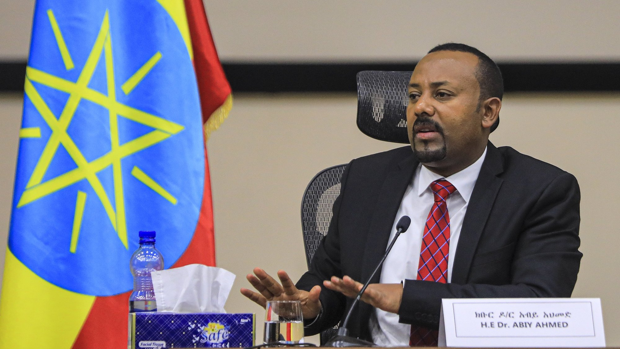 epaselect epa08852858 Ethiopian Prime Minister Abiy Ahmed speaks during a question and answer session in parliament, Addis Ababa, Ethiopia 30 November 2020. Ethiopia's military intervention in the northern Tigray region comes after Tigray People's Liberation Front (TPLF) forces allegedly attacked an army base on 03 November 2020 sparking weeks of unrest with over 40,000 refugees fleeing to Sudan.  EPA/STR
