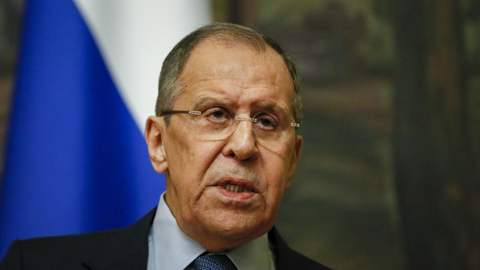 epa09139948 Russian Foreign Minister Sergei Lavrov attends a press conference after his meeting with Serbian Foreign Minister Nikola Selakovic  in Moscow, Russia, 16 April 2021. Serbian Foreign Minister Nikola Selakovic is on a working visit to Moscow.  EPA/YURI KOCHETKOV