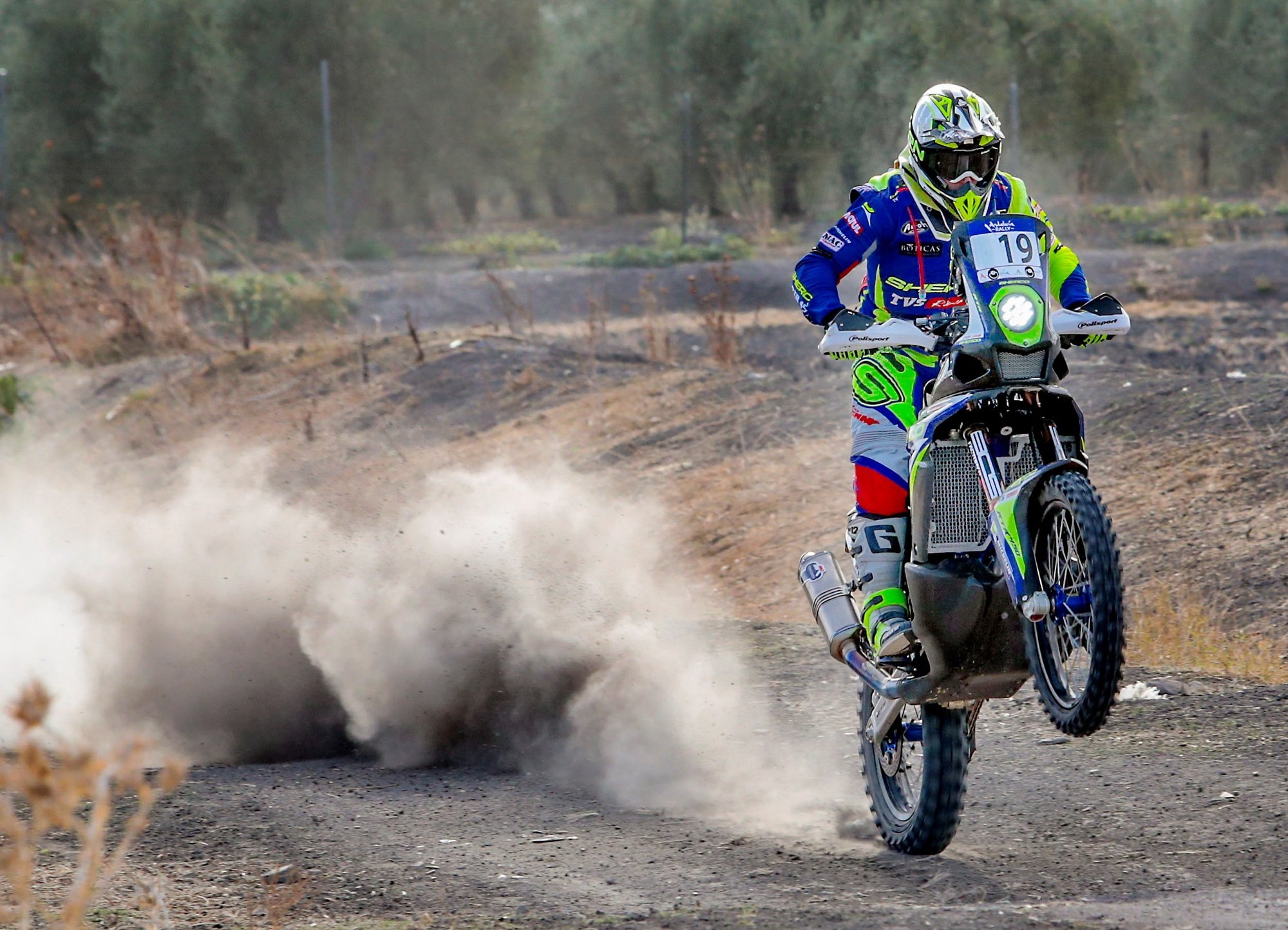epa08731442 Portuguese motorcyclist Rui Goncalves of Sherco TVS Rally Factory in action during the third stage of the Andalucia Rally 2020 in Arahal, Seville, Spain, 09 October 2020.  EPA/ROMAN RIOS
