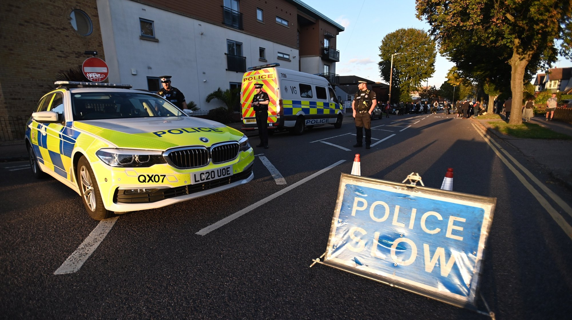 epa09525814 A police cordon at the scene of a crime where MP for Southend West, Sir David Amess, was stabbed to death in Leigh-on-Sea, Britain, 15 October 2021. Amess was reportedly stabbed several times at a church in Leigh-on-Sea while holding a constituency surgery and later died of his injuries.  EPA/ANDY RAIN