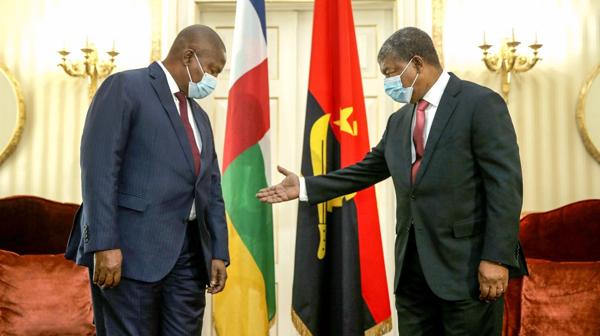 President of Central African Republic Faustin Archange Touadera  (L)  and Angola President João Lourenço (R)  poses for the photo during his visit to Angola, Luanda 26 May 2021.  AMPE ROGERIO / LUSA