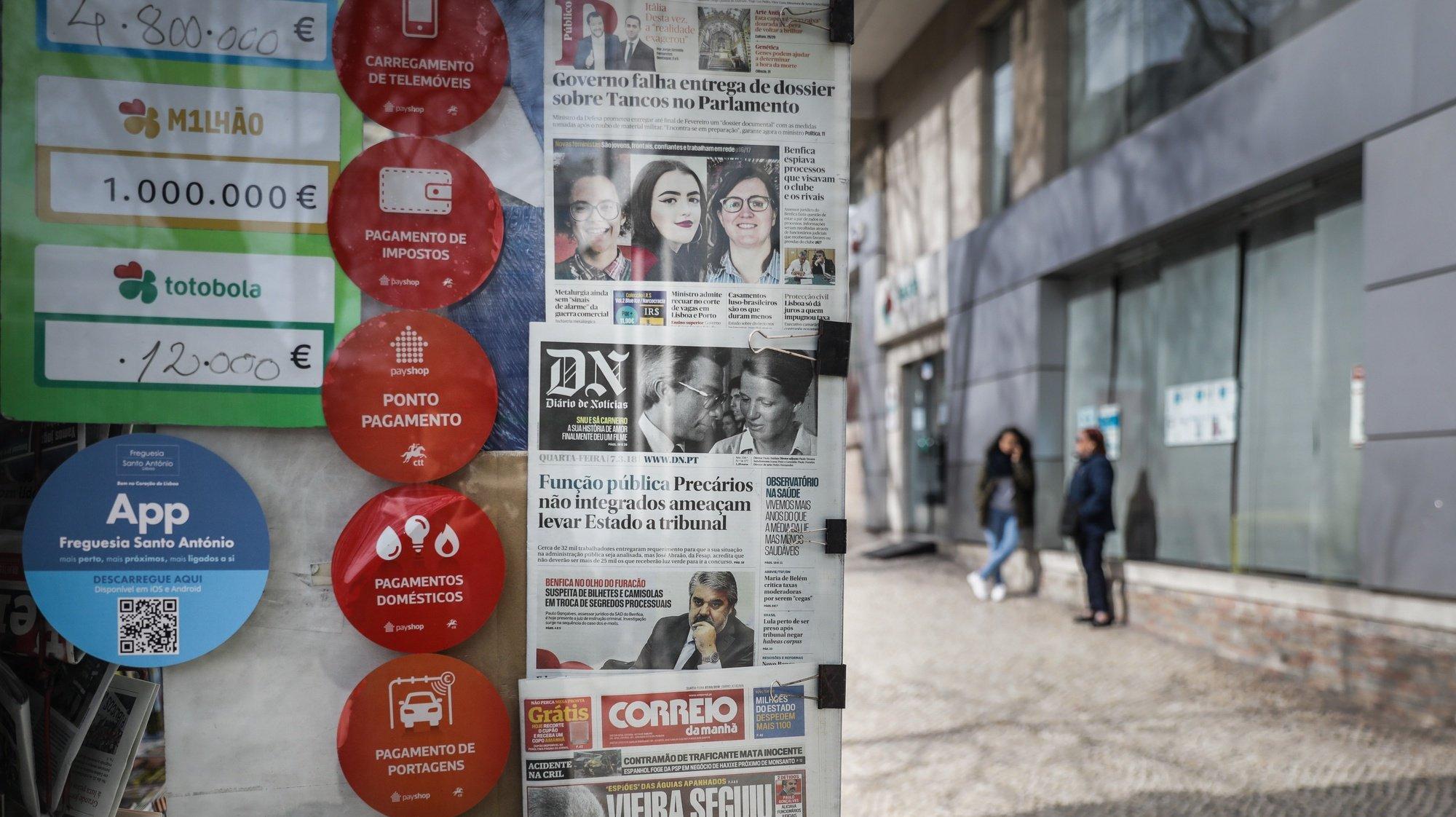Banca de jornais em Lisboa, 7 de março de 2018. MÁRIO CRUZ/LUSA