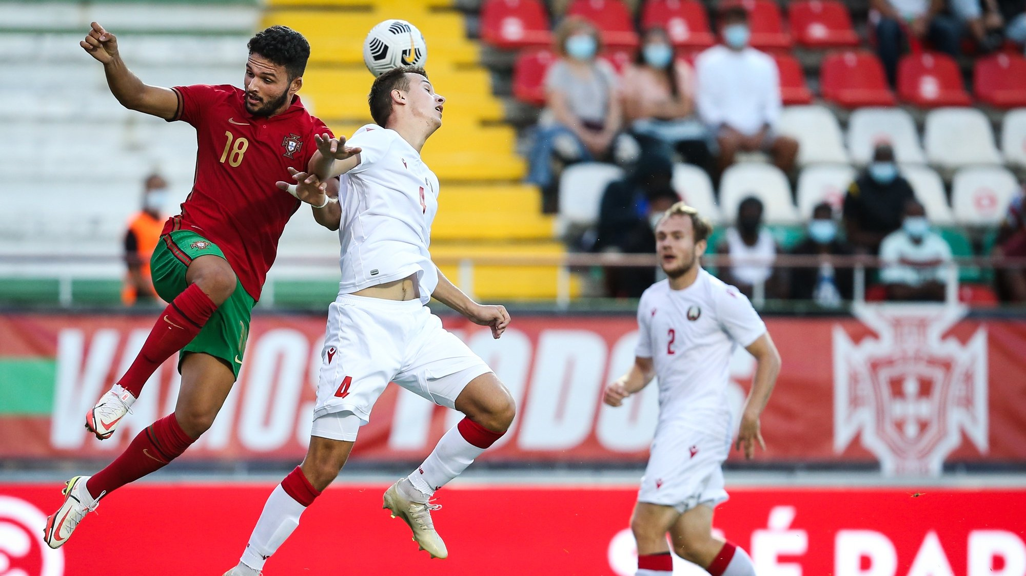 Portugal's Gonçalo Ramos (L) in action against Belarus Roman Vegerya (C) during the Euro2023 Under-21 qualifying soccer match between Portugal and Belarus at José Gomes Stadium in Lisbon, Portugal, 06 September 2021. RODRIGO ANTUNES/LUSA