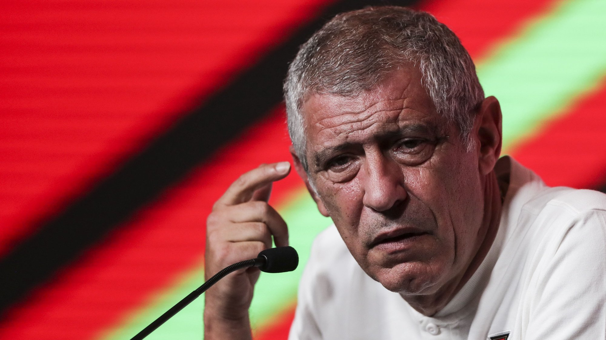 Portuguese head coach Fernando Santos talking on the press conference after Portugal's national team training session at Oeiras, outskirts of Lisbon, Portugal, 08th october 2021. TIAGO PETINGA/LUSA