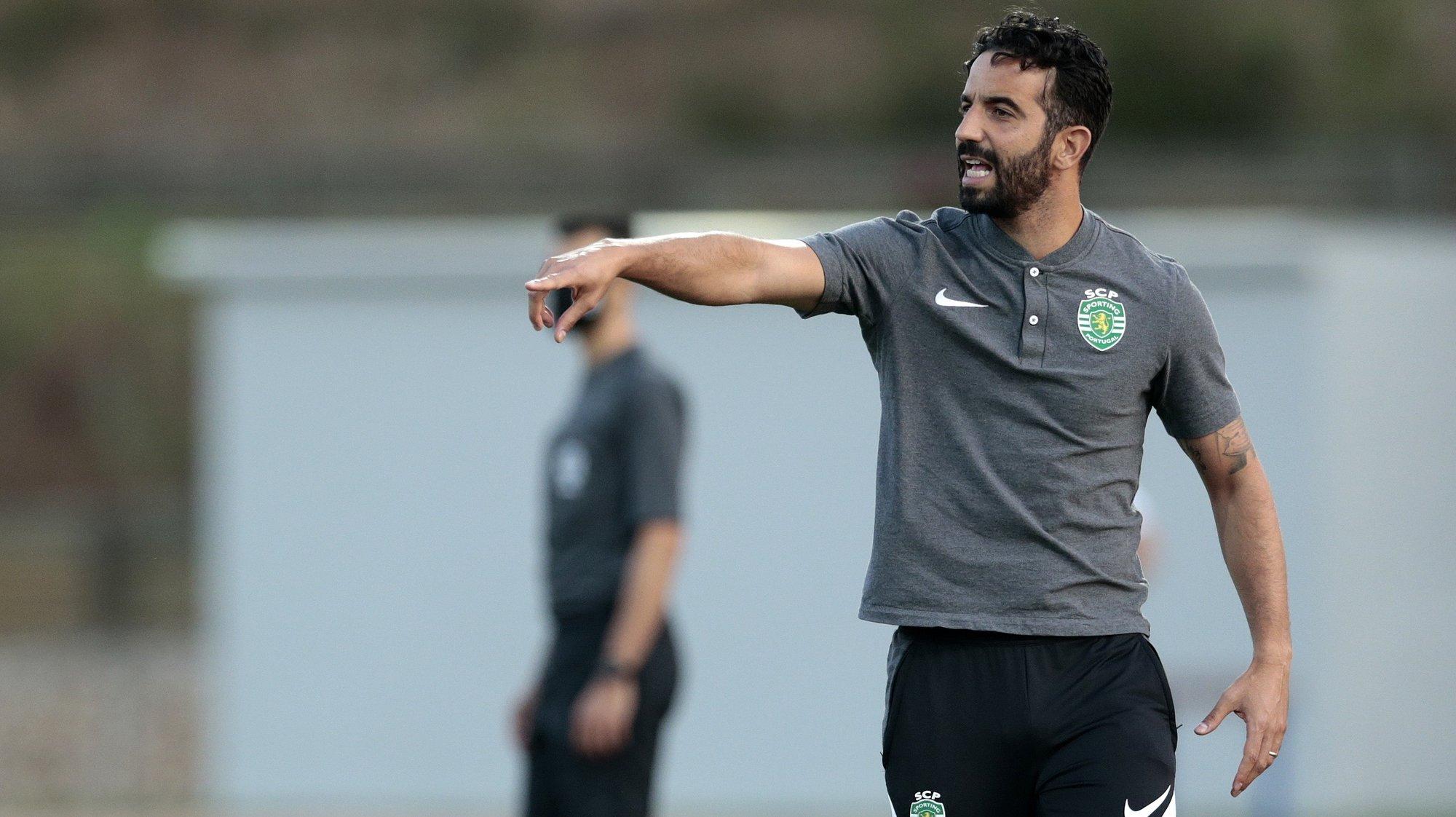 epa09355536 Sporting's head coach Ruben Amorim reacts during a friendly soccer match at Bela Vista stadium, in Parchal, Portugal, 20 July 2021.  EPA/FILIPE FARINHA