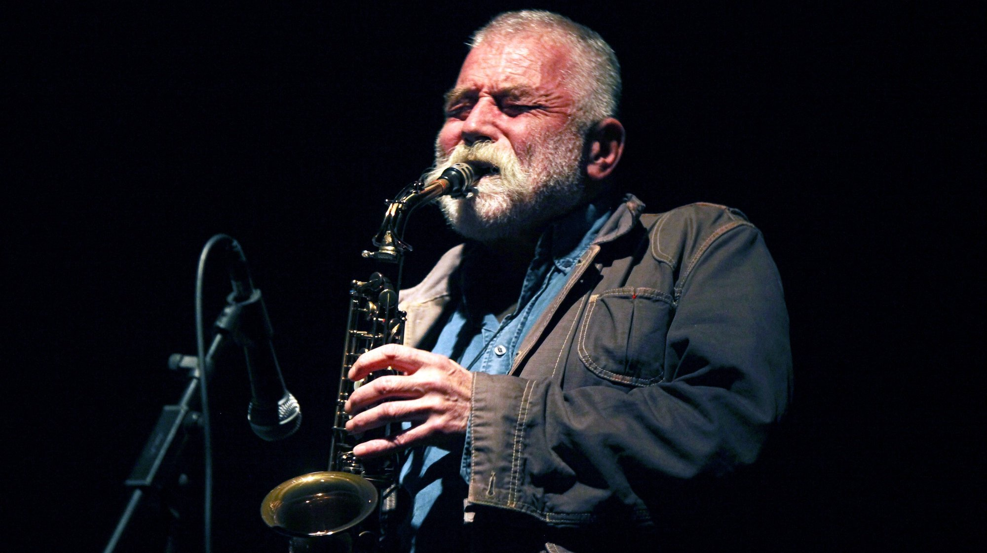 German artist and free jazz saxophonist Peter Brötzmann performs on stage during his concert at Passos Manuel, in Porto, Portugal,  late 14th October 2012. ESTELA SILVA / LUSA