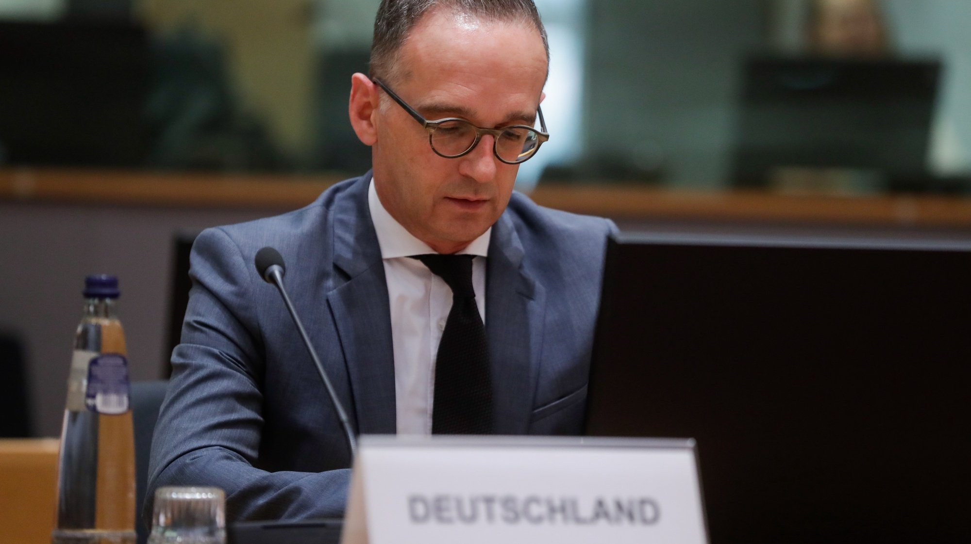 epa09339673 German Foreign Minister Heiko Maas attends a meeting of EU foreign ministers, at the European Council in Brussels, Belgium, 12 July 2021. EU foreign affairs minister will discuss the latest developments concerning Afghanistan, South Caucasus and Lebanon, geopolitics of new digital technologies, Ethiopia and the Strategic Compass and expect to approve conclusions on a Globally Connected Europe and on the EU's priorities at the 76th General Assembly of the United Nations.  EPA/STEPHANIE LECOCQ