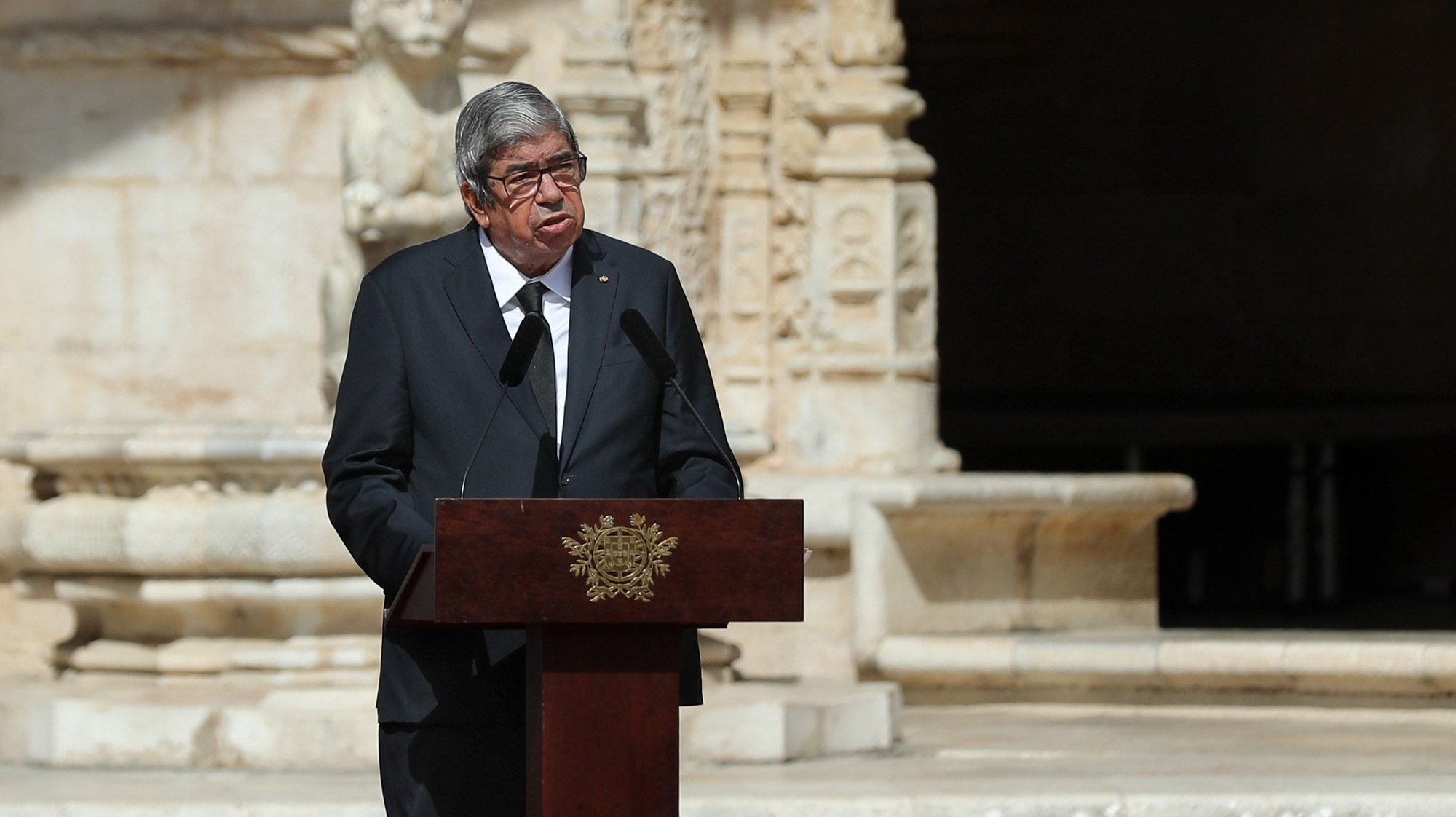 President of the Assembly of the Republic, Ferro Rodrigues during the funeral service for the late Portuguese President Jorge Sampaio at Jeronimos Monastery, Portugal, 12 september 2021. Jorge Sampaio, former secretary-general of the PS (1989/1992) and two-term President of the Republic (1996/2006), died on Friday, at the age of 81, at Santa Cruz Hospital, in Lisbon, where he had been hospitalized since August 27, following respiratory difficulties. MIGUEL A. LOPES//LUSA
