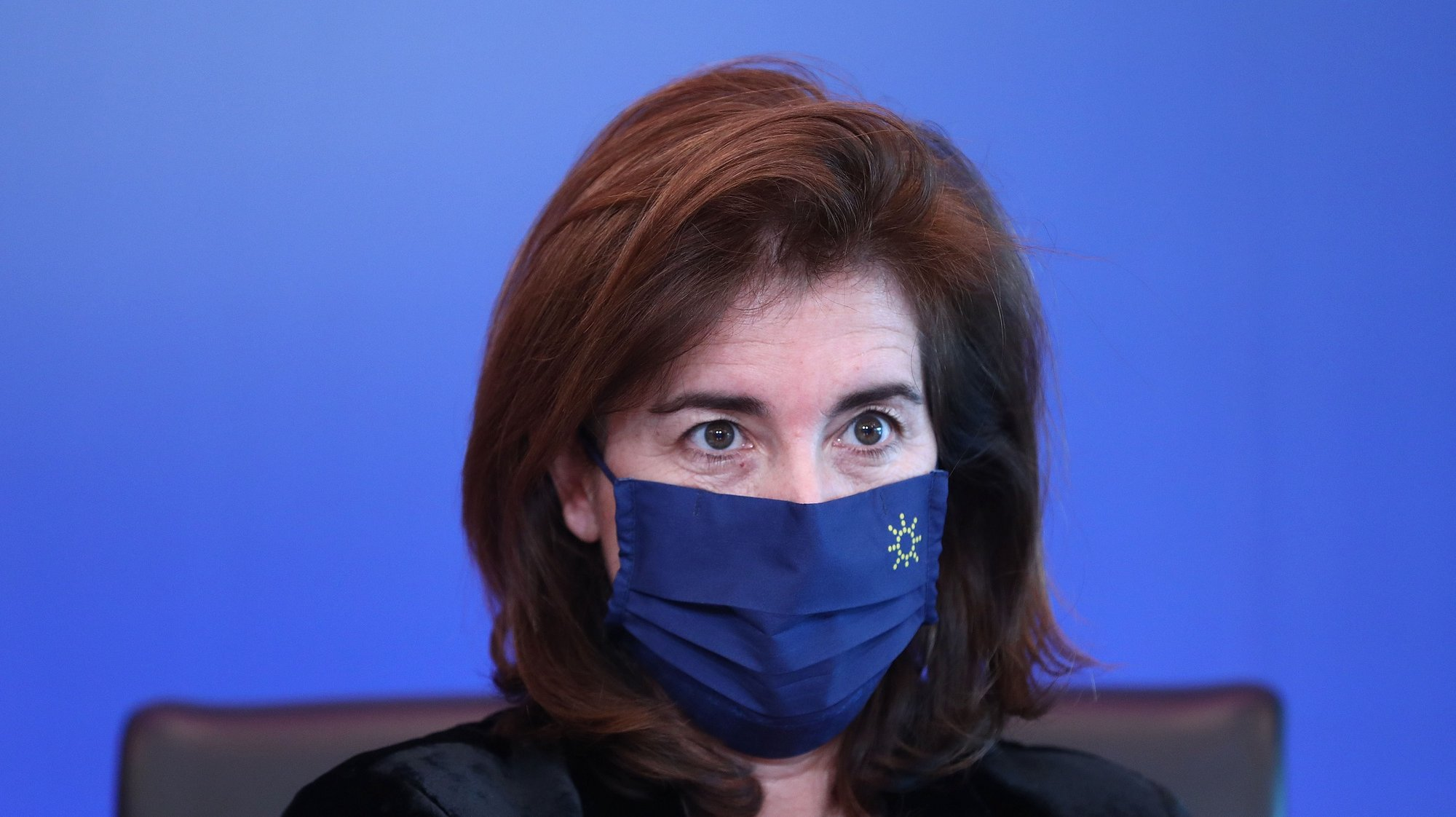 Portuguese Minister of Labour, Solidarity and Social Security, Ana Mendes Godinho during a virtual visit of journalists included in the official program of the Portuguese Presidency of the Council of the European Union in Lisbon, Portugal, 07 January 2021. During the first half of this year, Portugal will have its fourth presidency after 1992, 2000 and 2007. ANTÓNIO PEDRO SANTOS/LUSA