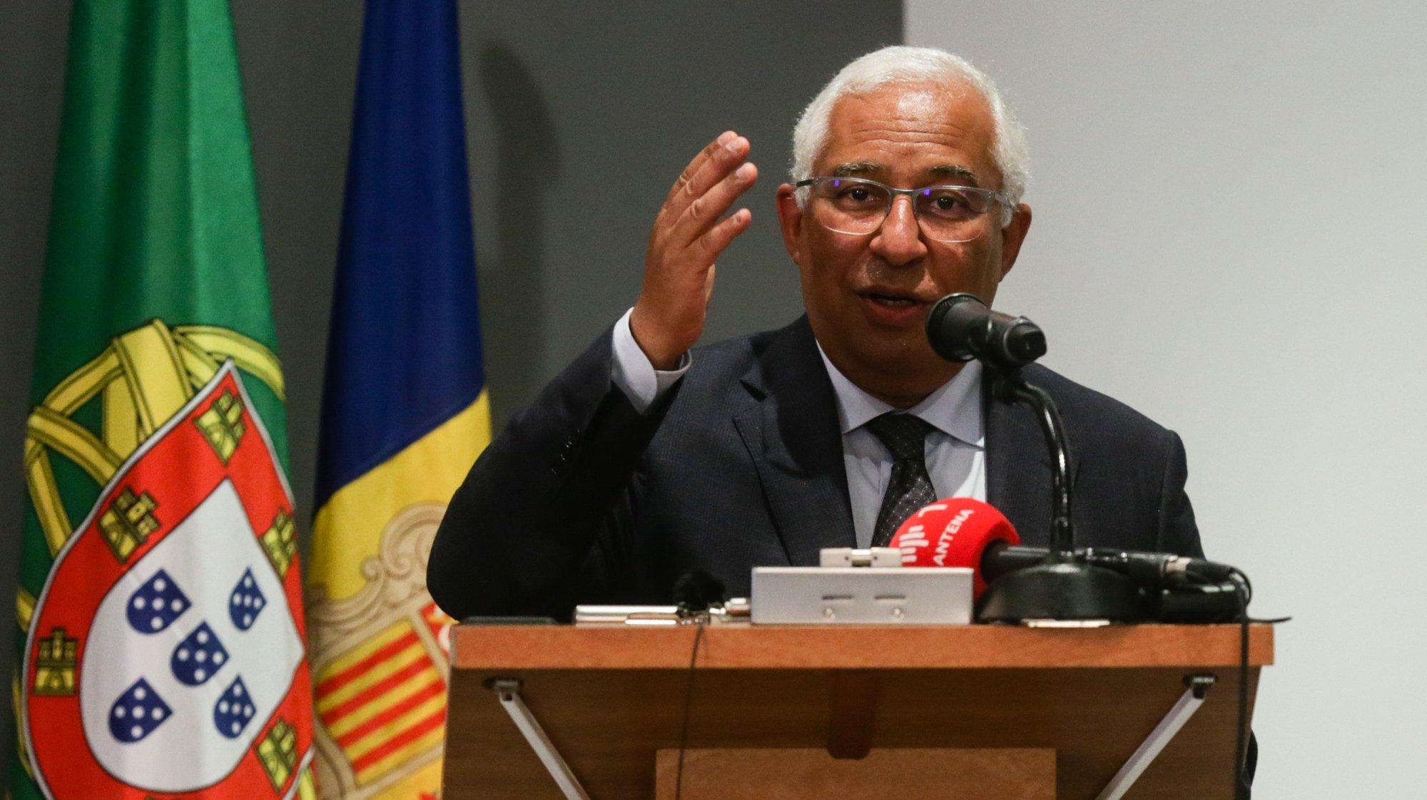 O primeiro-ministro, António Costa, fala num encontro com representantes da Comunidade Portuguesa em Andorra, no âmbito da XXVII Cimeira Ibero-Americana, Andorra, 20 de abril de 2021. TIAGO PETINGA/LUSA