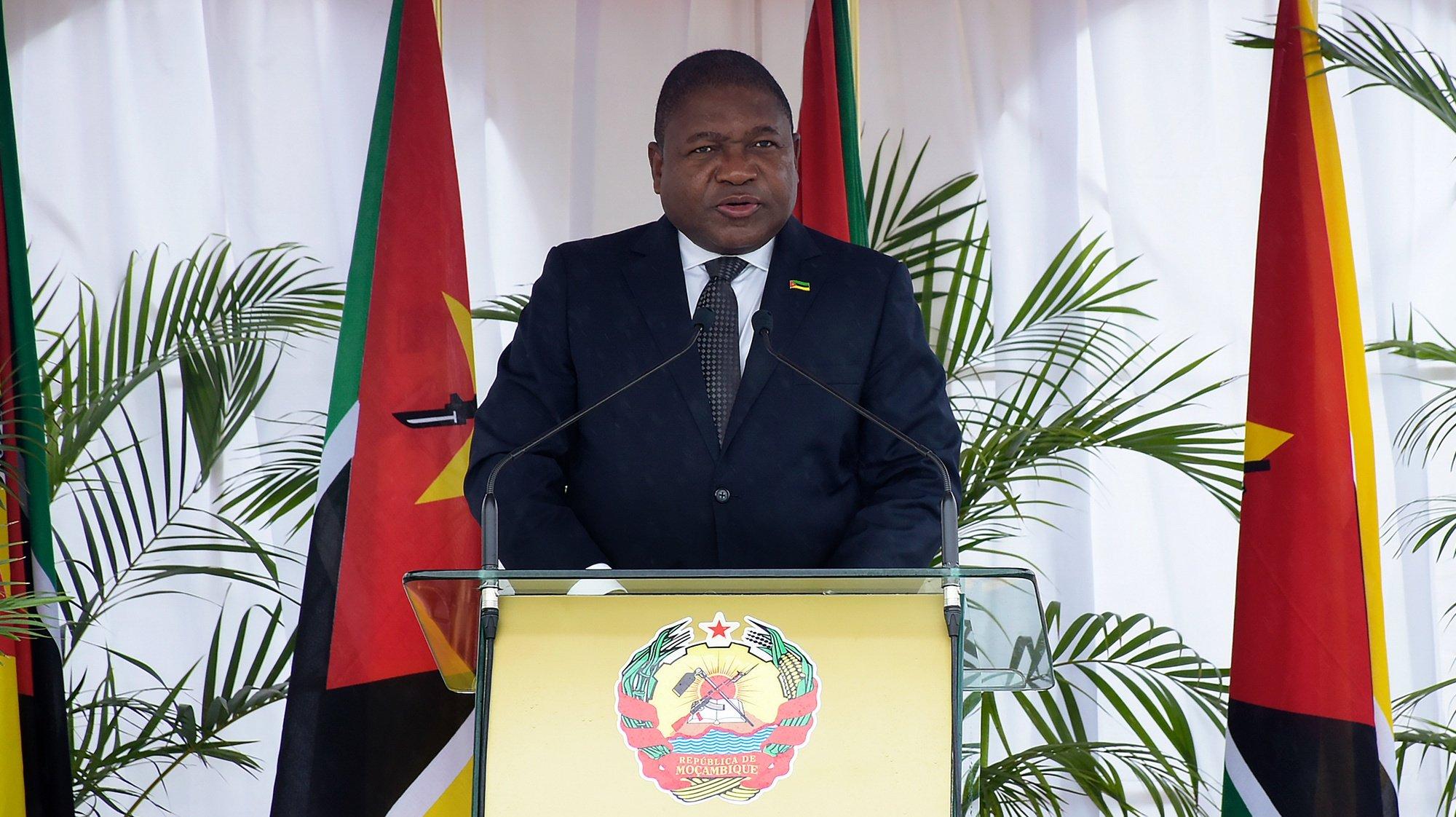 O Presidente da República de Moçambique, Filipe Nyusi, discursa durante as cerimónias de comemoração do Dia dos Heróis Nacionais, em Maputo, Moçambique, 03 de fevereiro 2021. PRESIDÊNCIA DA REPÚBLICA DE MOÇAMBIQUE/LUSA