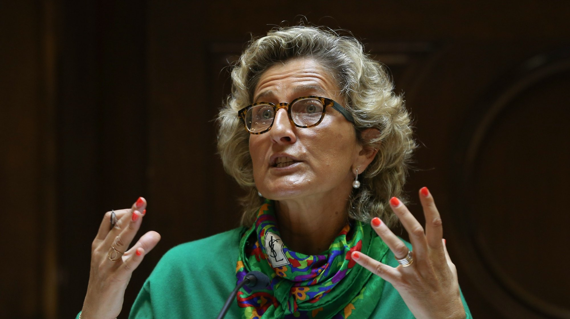 A ministra da Coesão Territorial, Ana Abrunhosa, durante a audição na Comissão de Administração Pública, Modernização Administrativa, Descentralização e Poder Local da Assembleia da República, Lisboa,13 de abril de 2021.     MANUEL DE ALMEIDA/LUSA