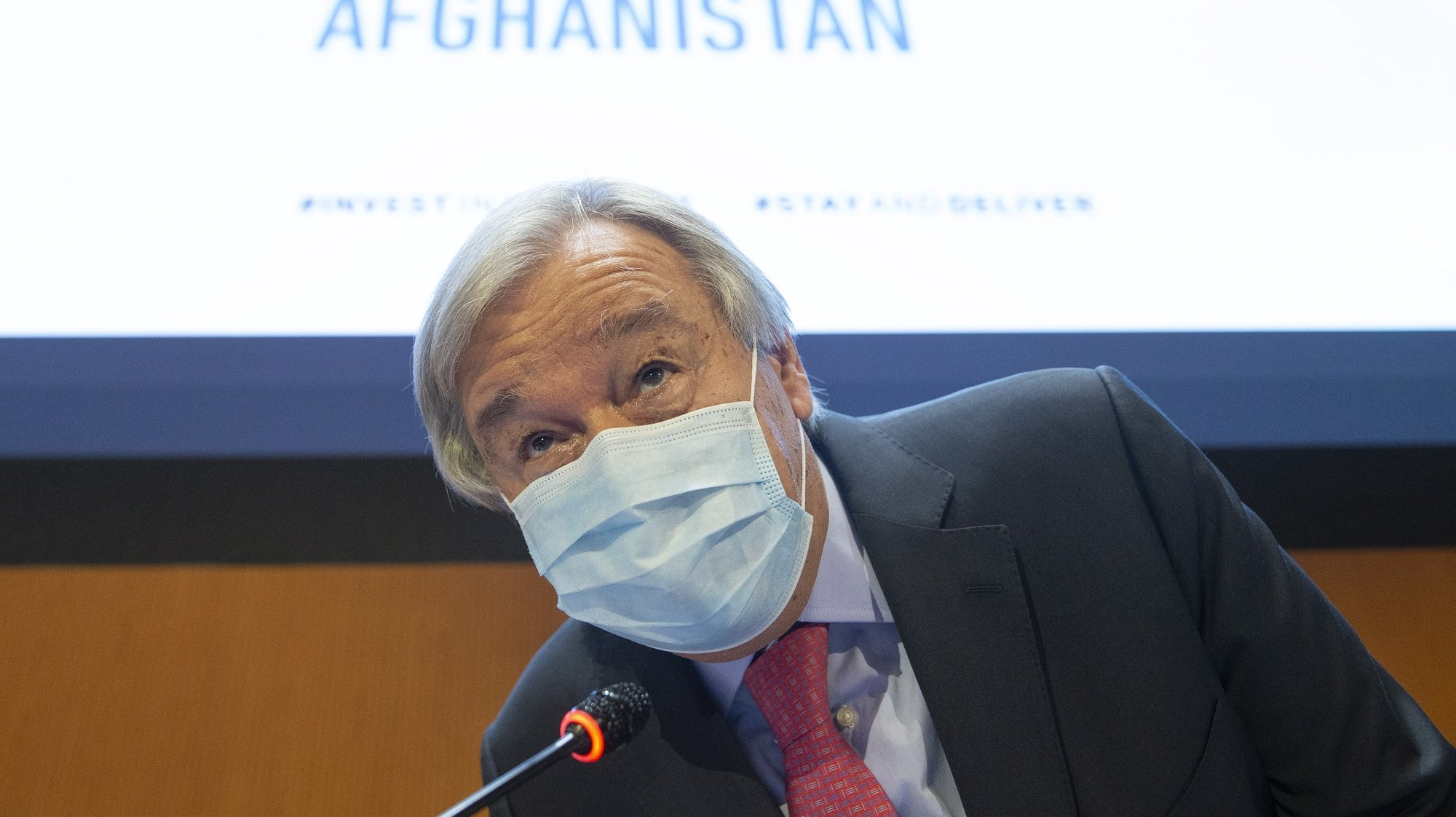 epa09465502 UN Secretary-General Antonio Guterres during the High-Level Ministerial Event on the Humanitarian Situation in Afghanistan, at the European headquarters of the United Nation, in Geneva, Switzerland 13 September 2021.  EPA/SALVATORE DI NOLFI