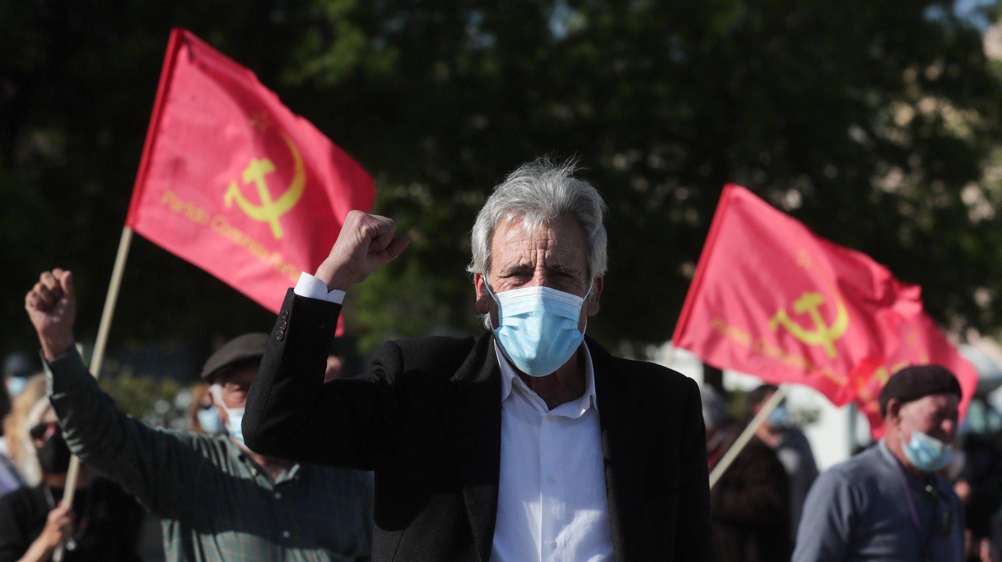"""O secretário-geral do Partido Comunista Português (PCP), Jerónimo de Sousa, participou na sessão """"Centenário de Baptista Pereira - Uma vida de luta e dignidade"""" em Alhandra, 14 de março de 2021. TIAGO PETINGA/LUSA"""