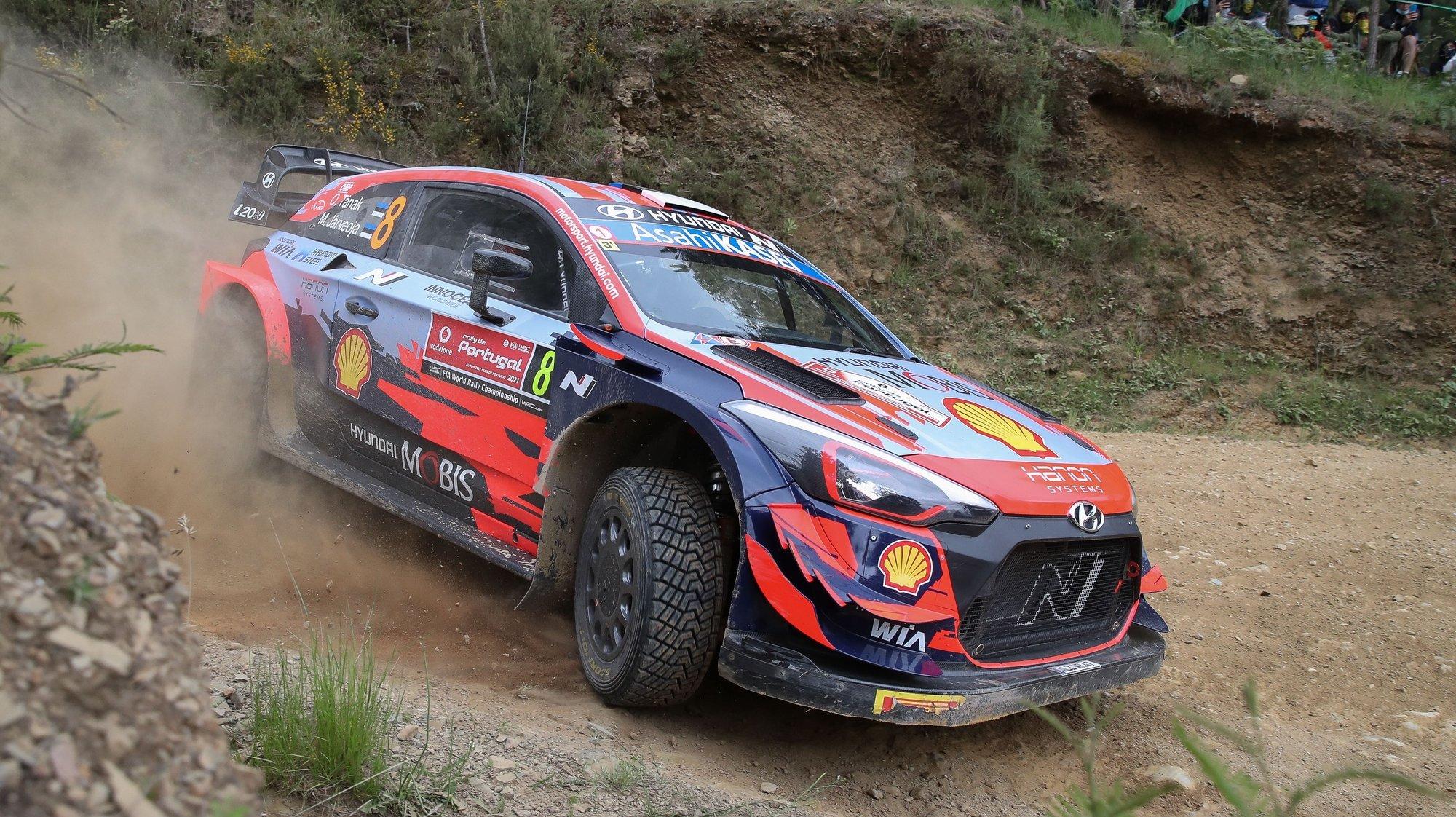 Ott Tanak of Estonia drives his Hyundai i20 coupe WRC during day1, SS4 - Lousa 2, of the Portugal Rally 2021, Lousã, Portugal, 21 May 2021. PAULO NOVAIS/LUSA